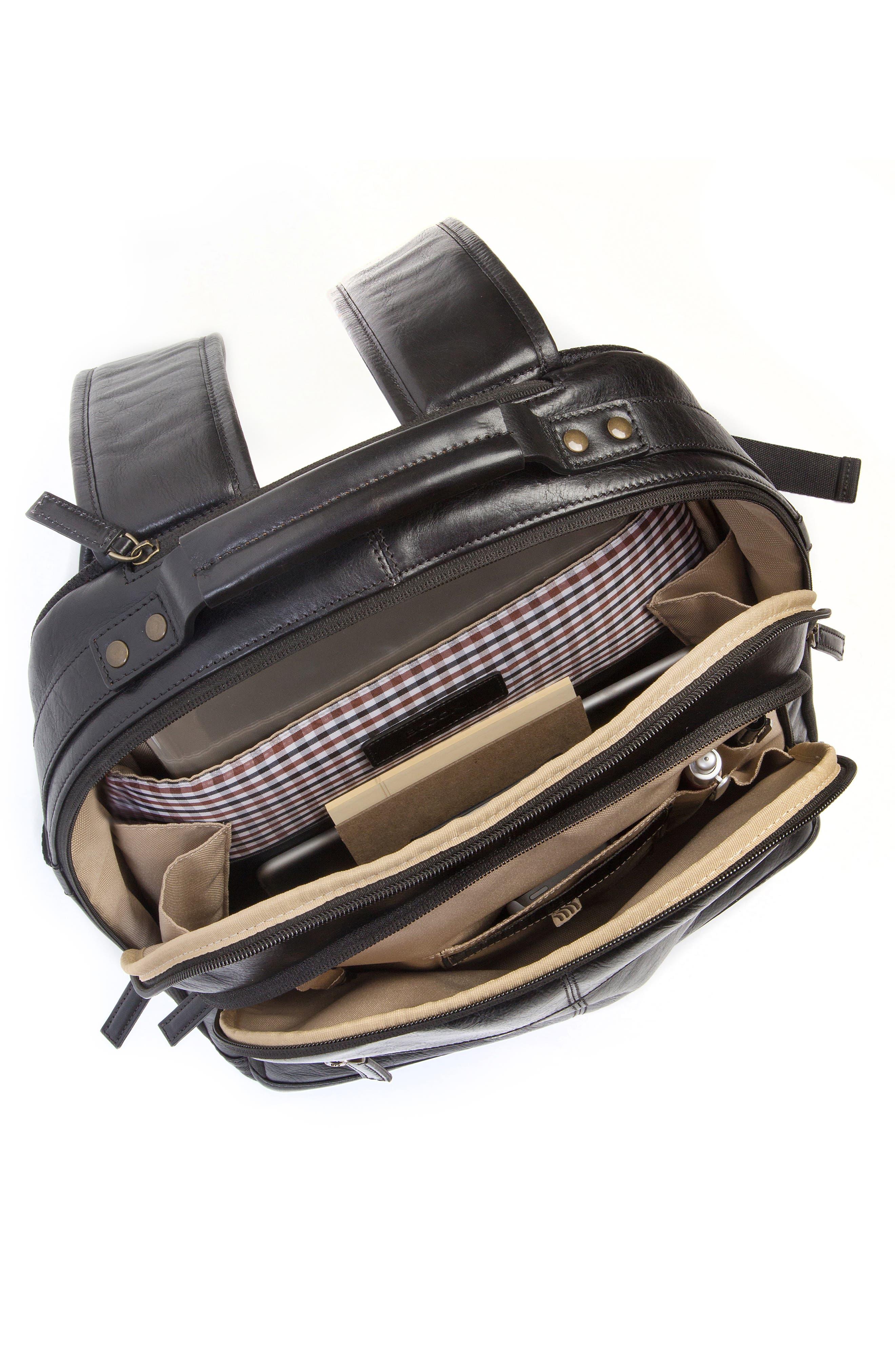 'Becker' Leather Backpack,                             Alternate thumbnail 4, color,                             001