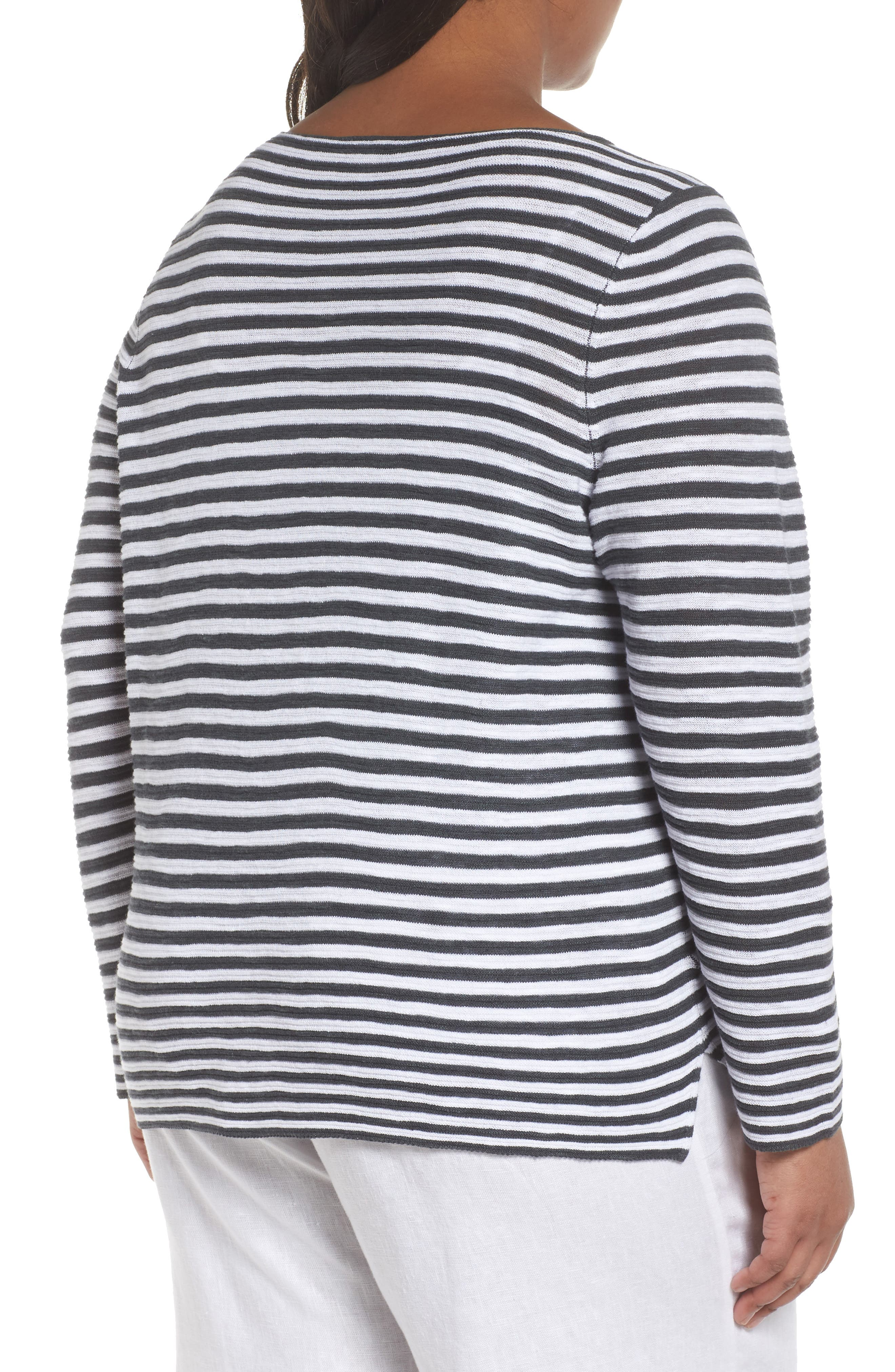 Stripe Organic Linen & Cotton Sweater,                             Alternate thumbnail 2, color,