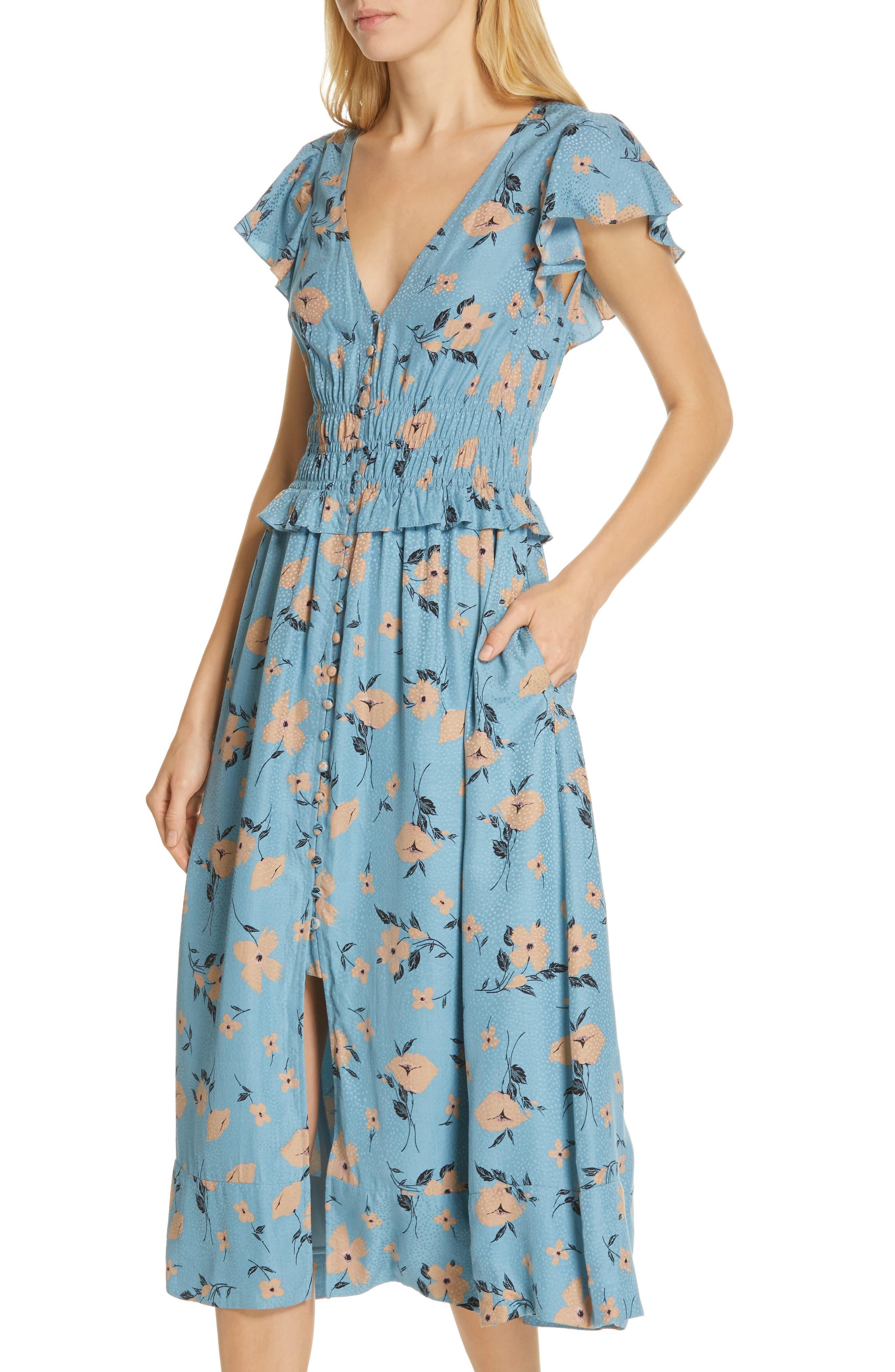 REBECCA TAYLOR,                             Daniella Floral Jacquard Silk Blend Dress,                             Alternate thumbnail 4, color,                             LAGOON COMBO