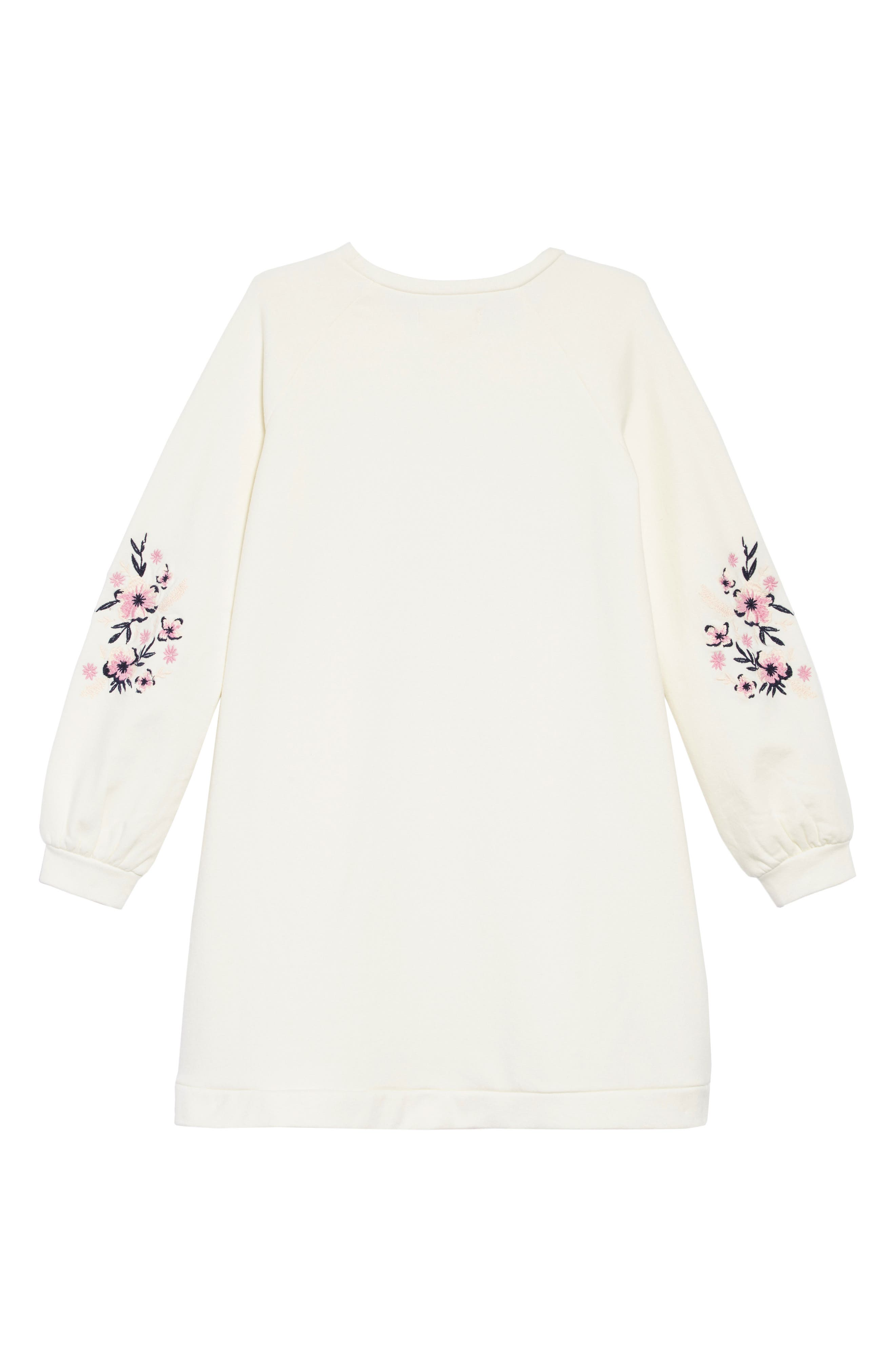Embroidered Sleeve Sweatshirt Dress,                             Alternate thumbnail 2, color,                             IVORY EGRET