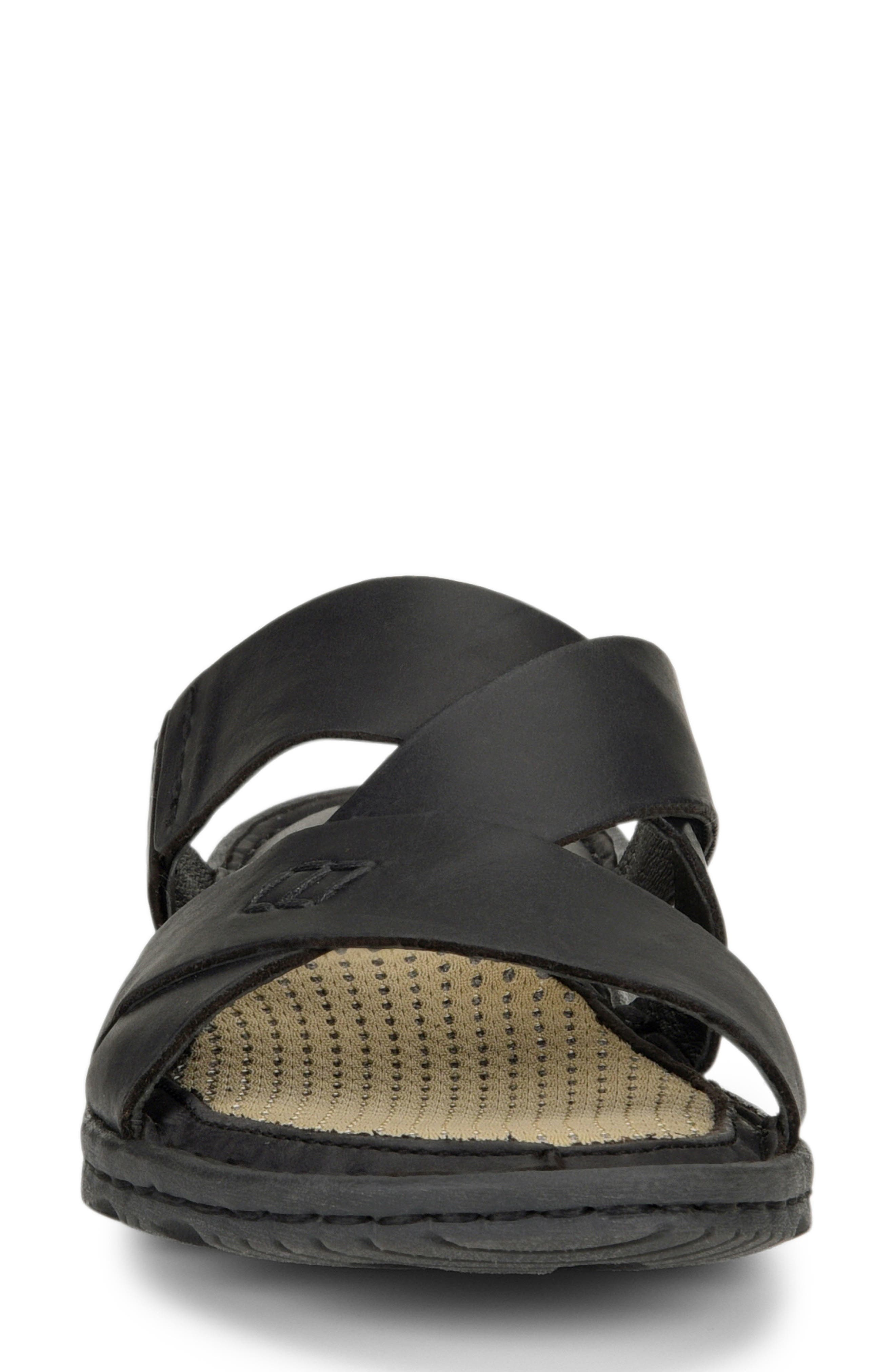 Hayka Asymmetrical Slide Sandal,                             Alternate thumbnail 4, color,                             BLACK LEATHER