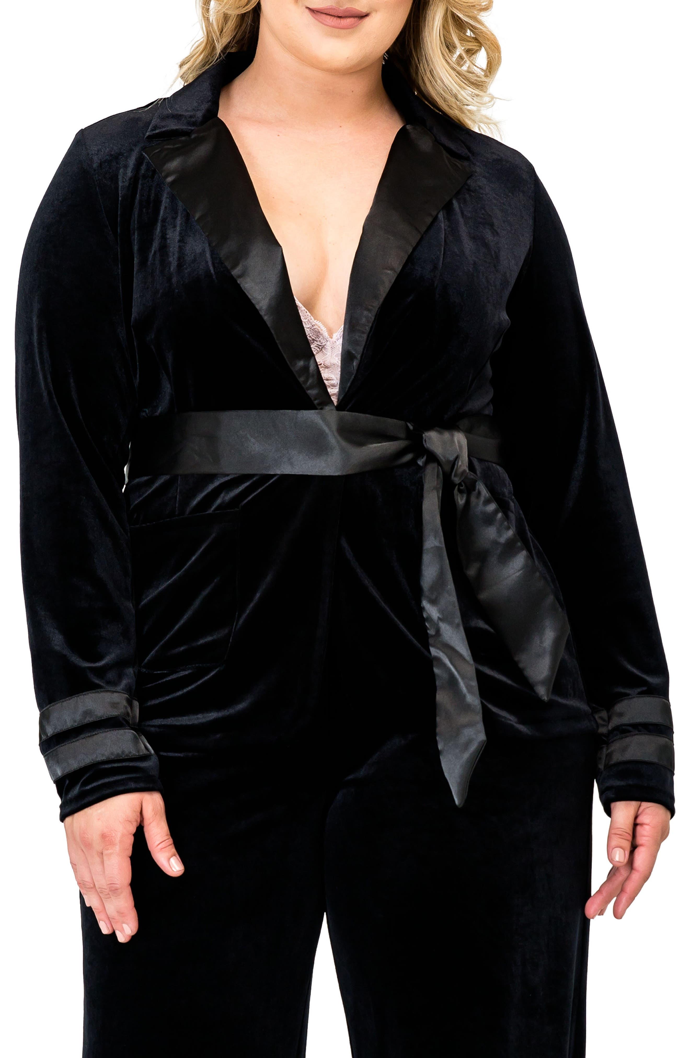 Lottie Velvet & Satin Jacket,                         Main,                         color, BLACK