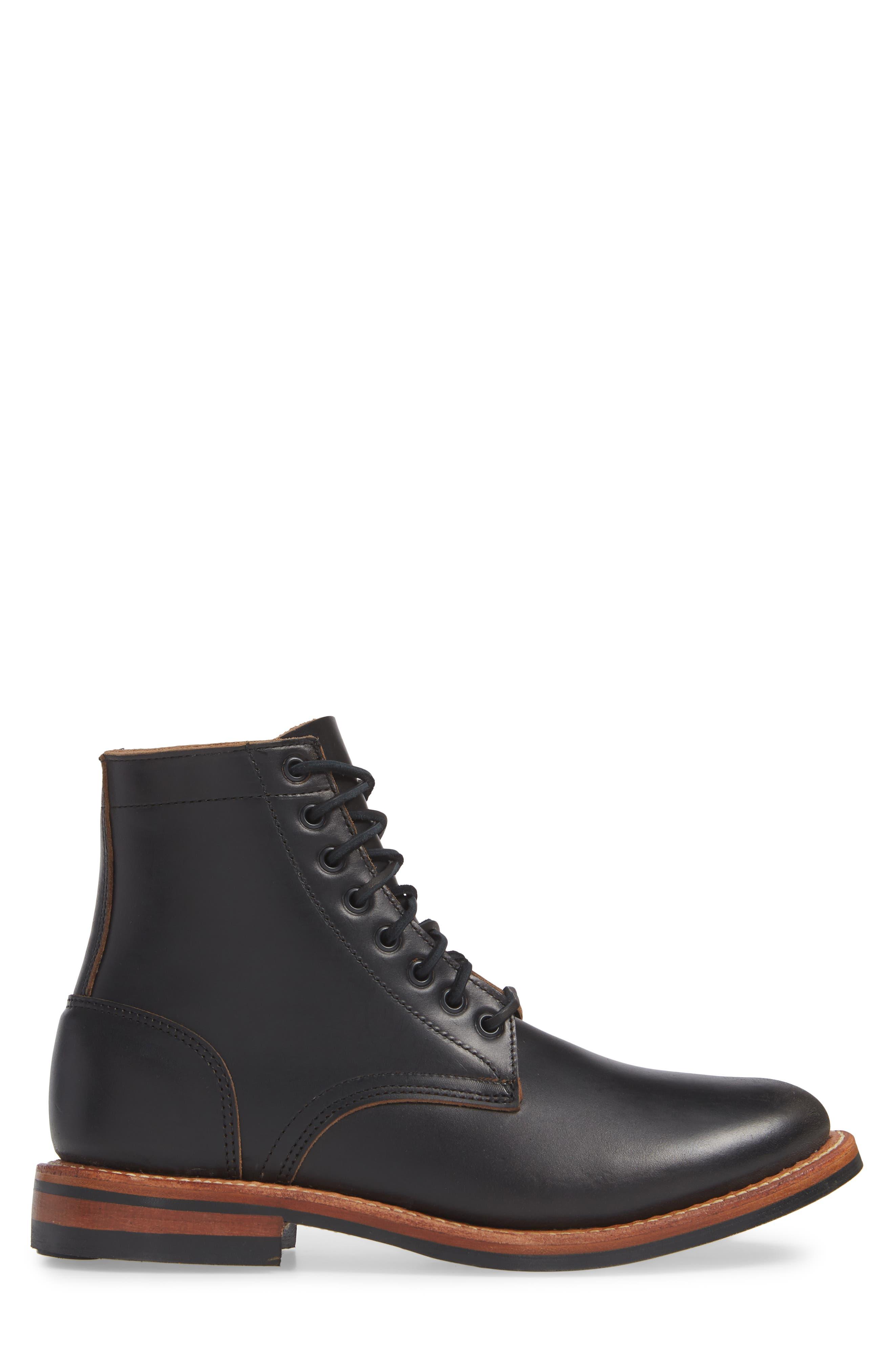 Trench Plain Toe boot,                             Alternate thumbnail 3, color,                             BLACK LEATHER