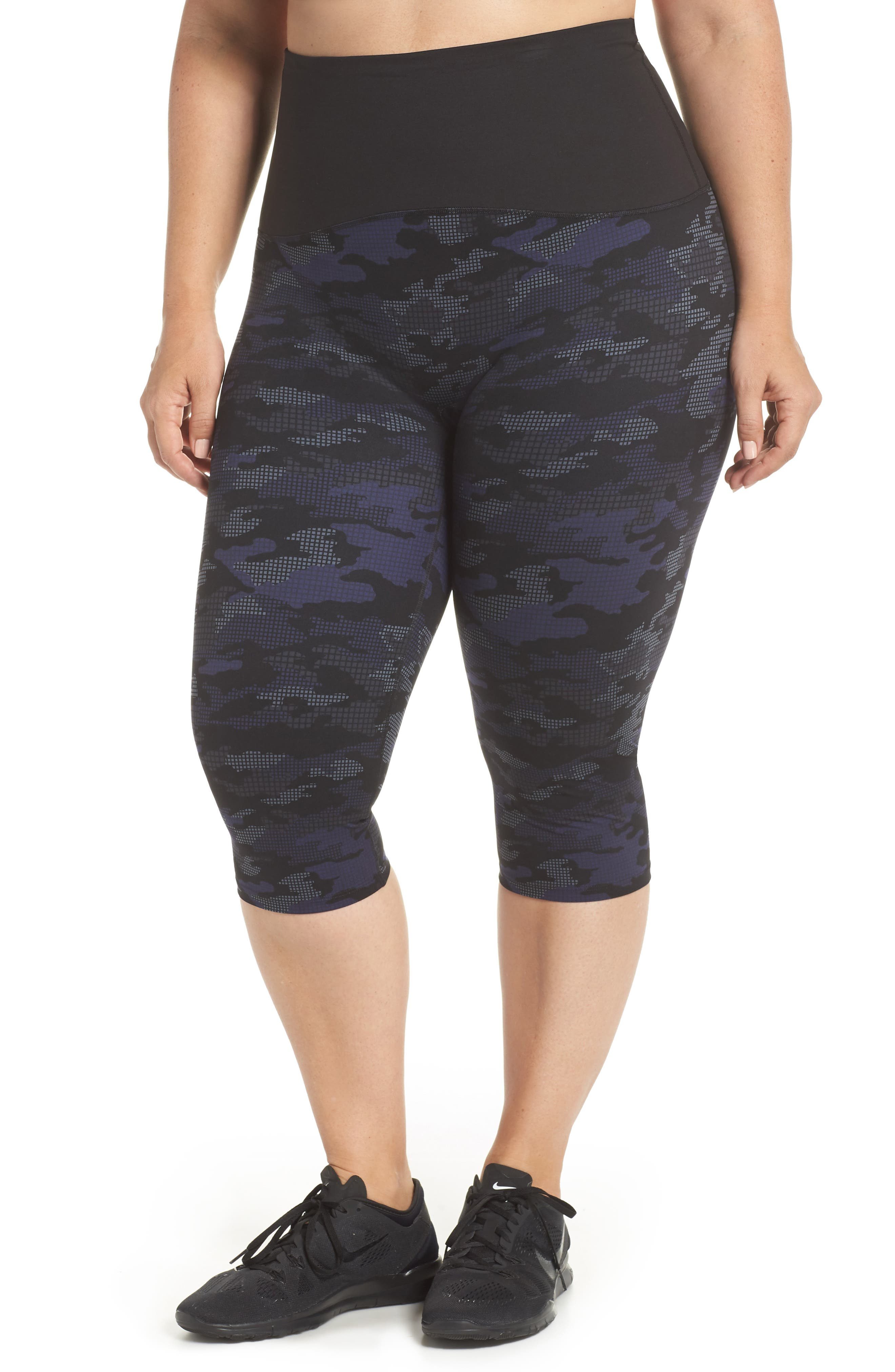 Print Active Crop Leggings,                         Main,                         color, GEO BLUE CAMO