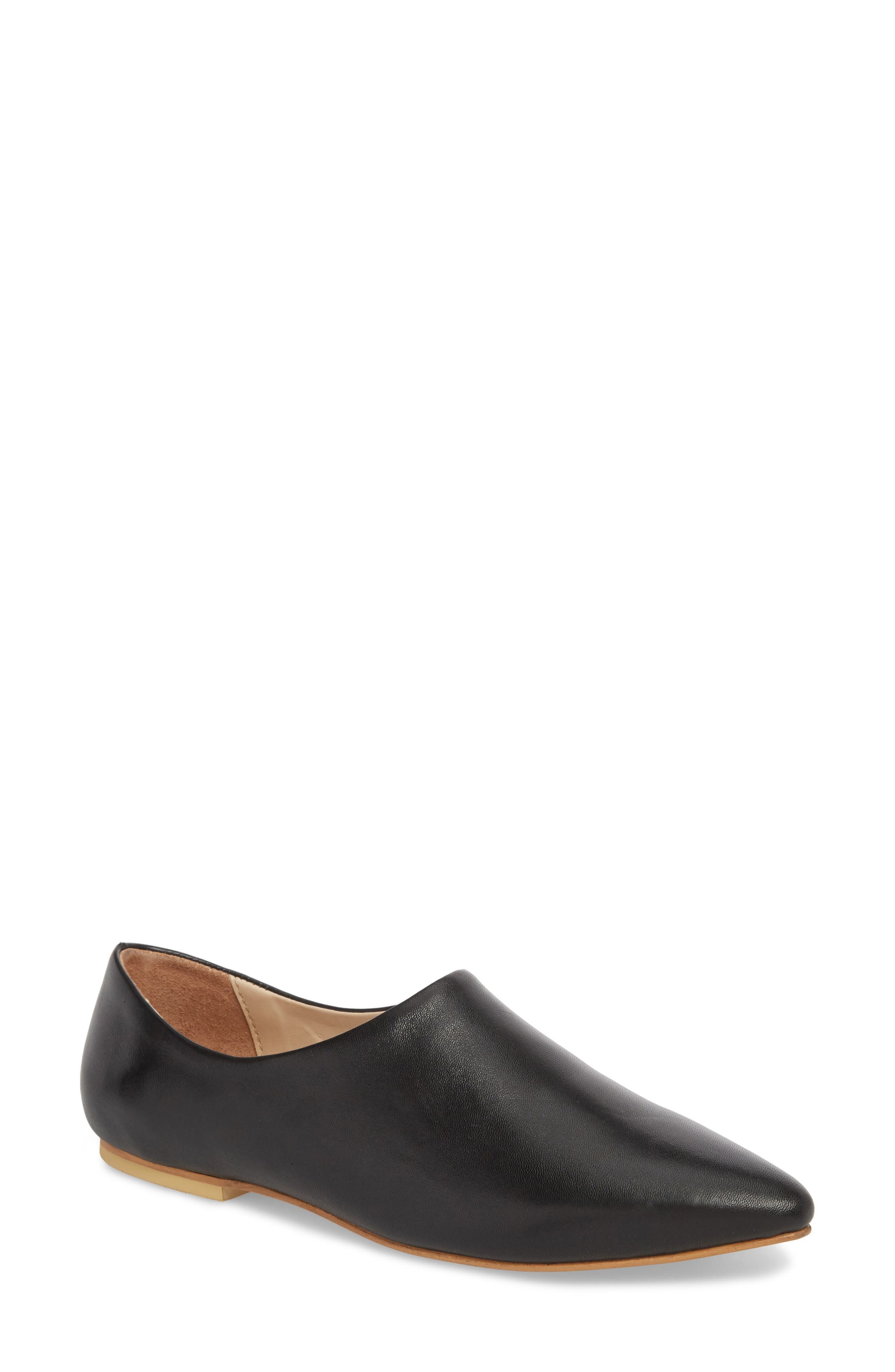 Dolce Flat,                             Main thumbnail 1, color,                             BLACK LEATHER