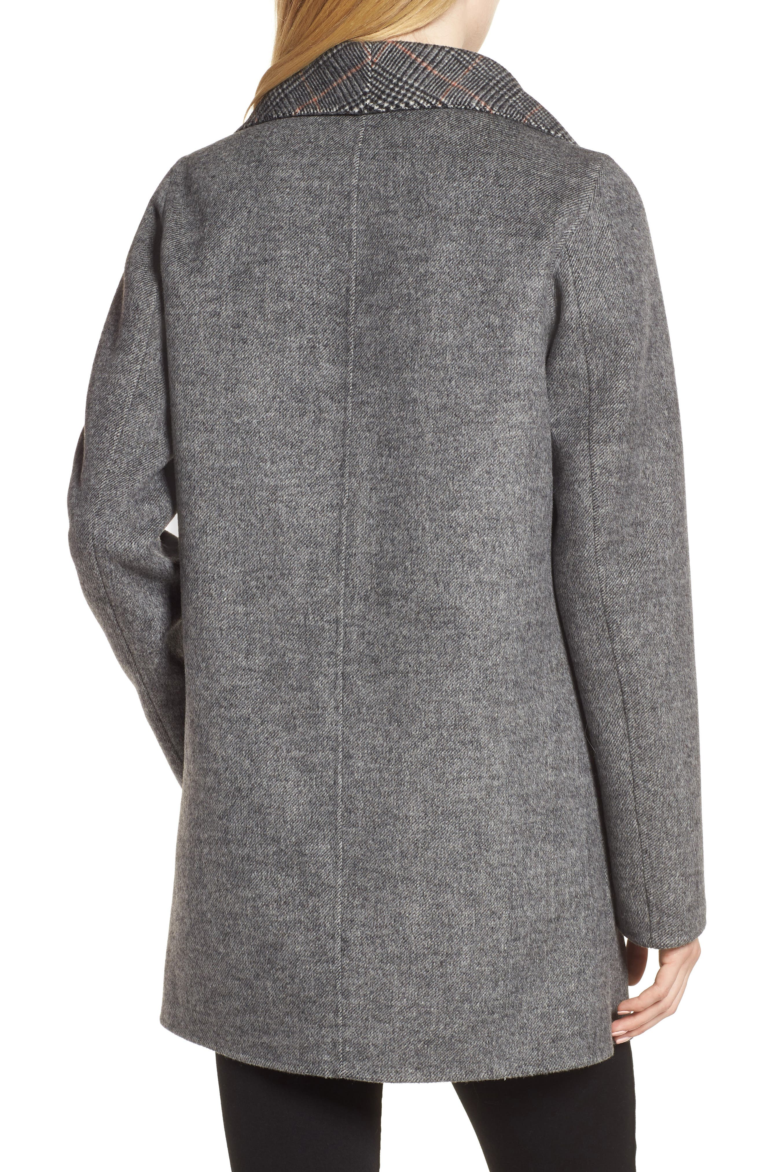Nicky Double Face Wool Blend Oversize Coat,                             Alternate thumbnail 2, color,                             GREY COMBO TWILL/ PLAID