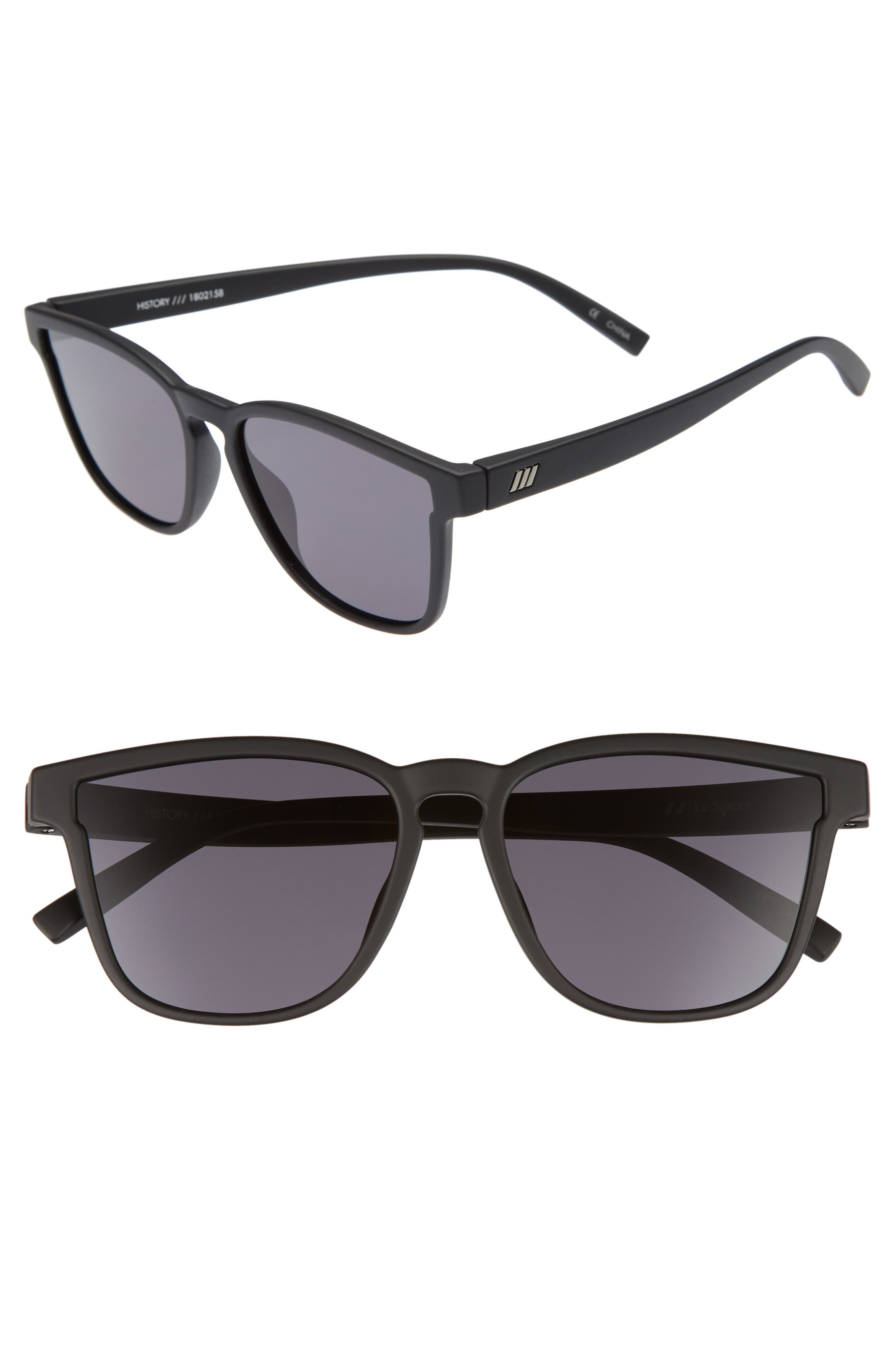 History 53mm Modern Rectangle Sunglasses,                         Main,                         color, BLACK RUBBER