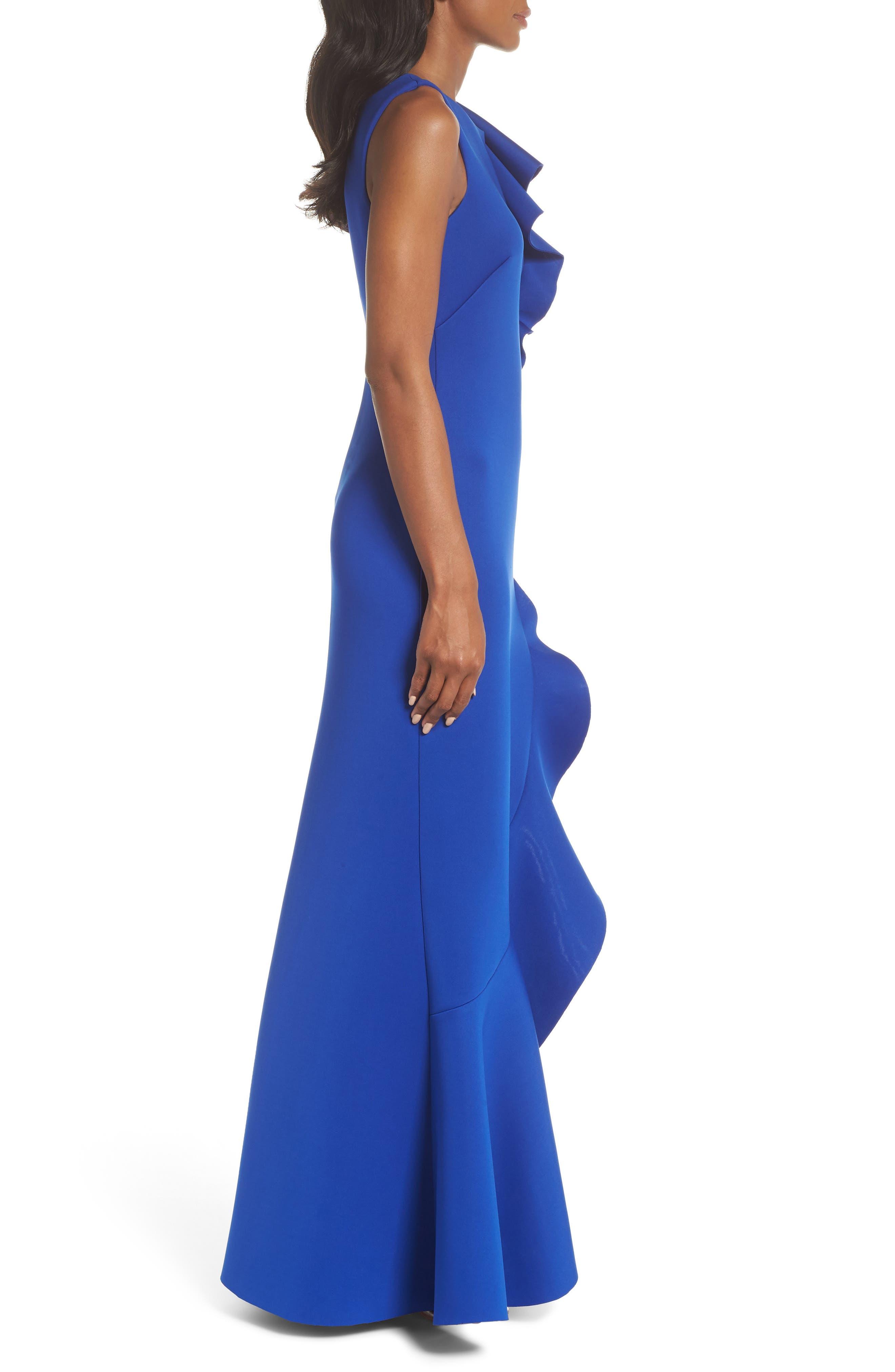 Asymmetric Ruffle Gown,                             Alternate thumbnail 3, color,                             ROYAL
