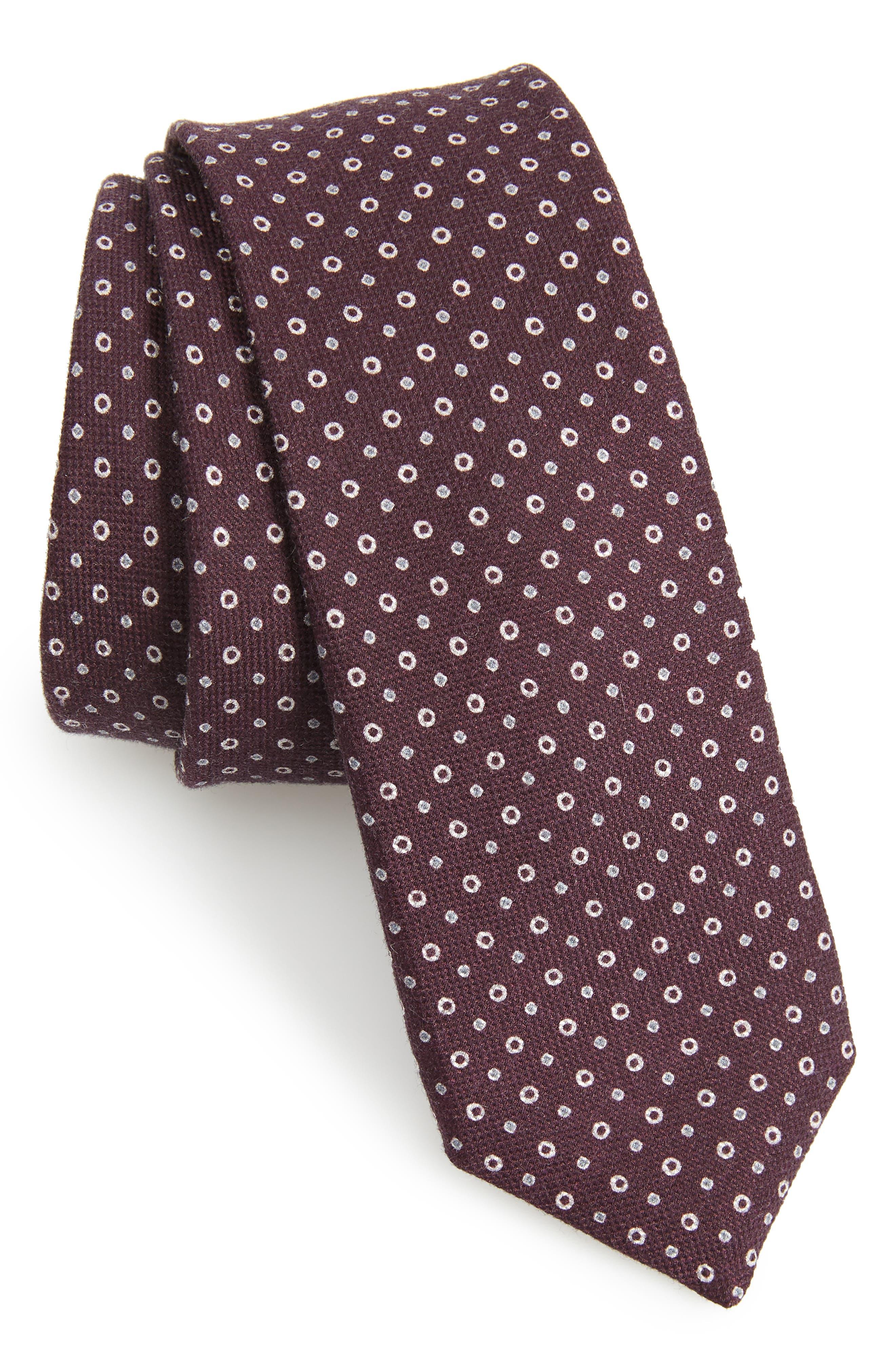 Dot Cotton & Silk Tie,                             Main thumbnail 1, color,                             DARK PURPLE
