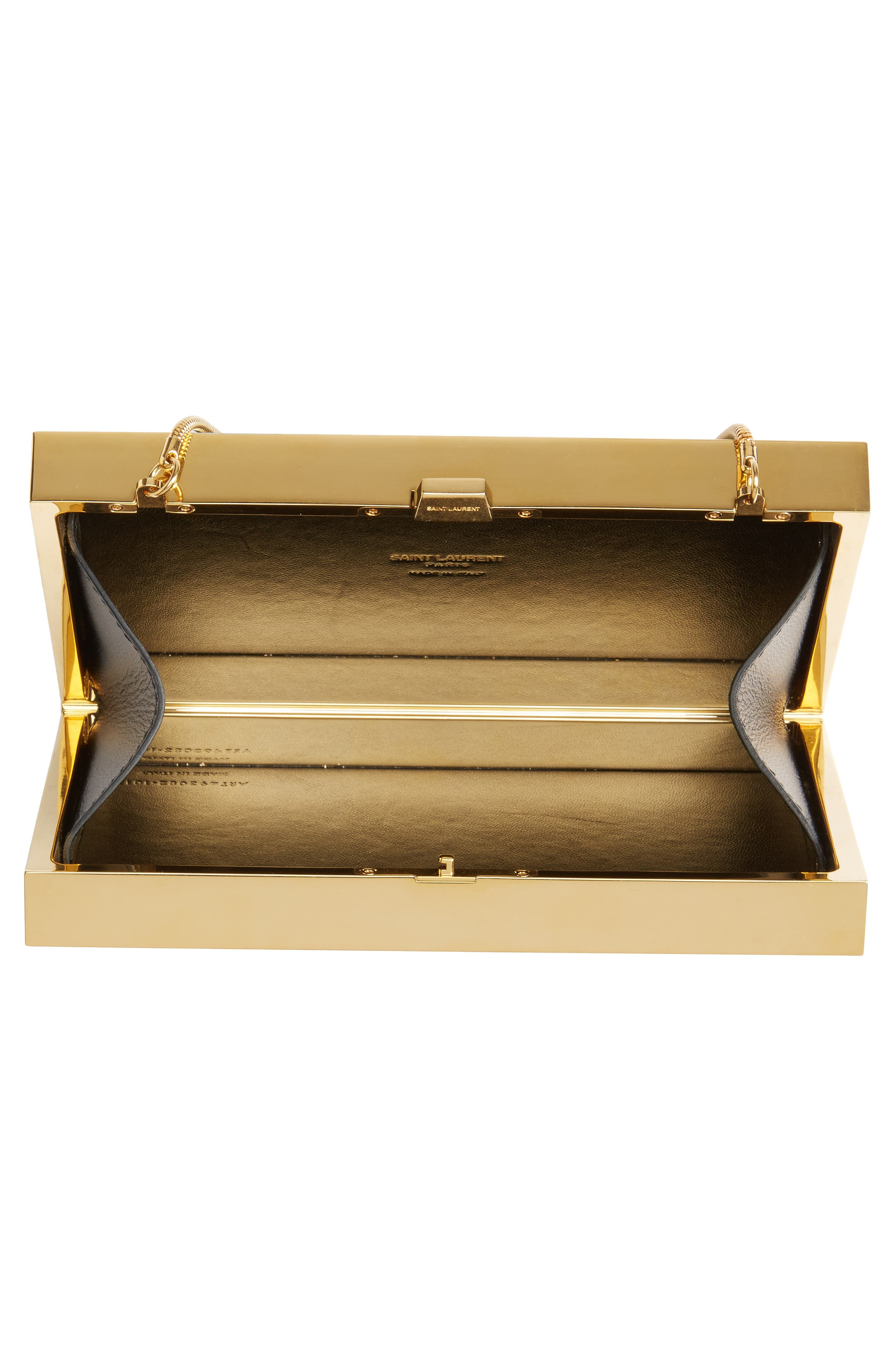 Monogram Tuxedo Box Clutch,                             Alternate thumbnail 4, color,                             NOIR/ GOLD