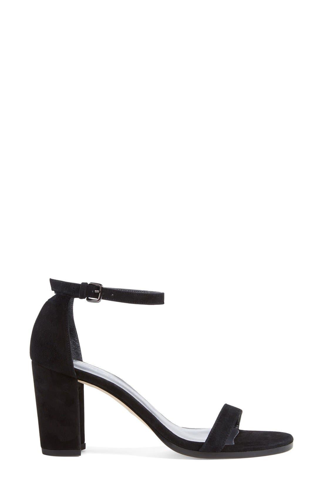 Simple Ankle Strap Sandal,                             Alternate thumbnail 7, color,                             BLACK SUEDE