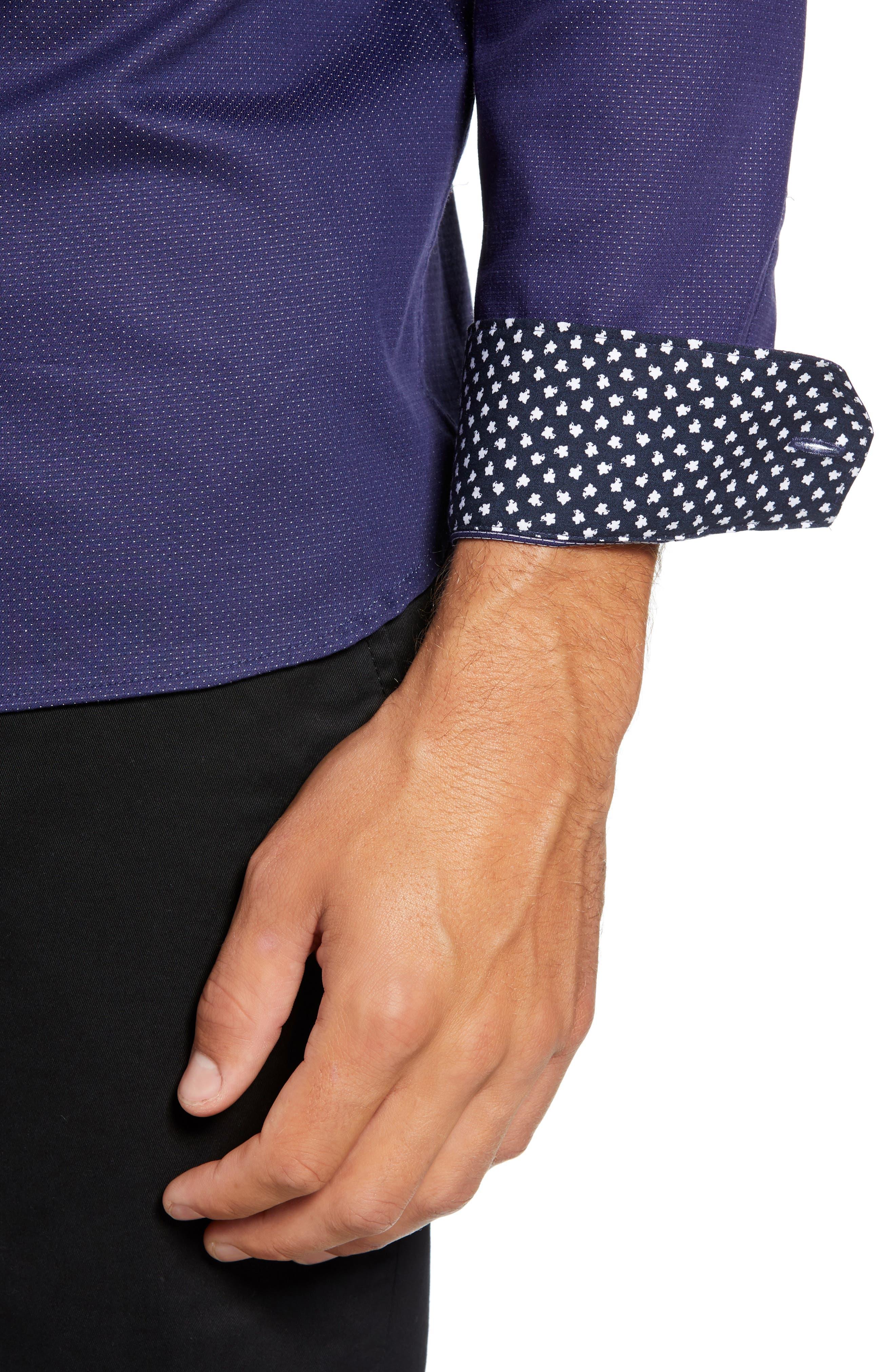 Surrey Q Slim Fit Sport Shirt,                             Alternate thumbnail 2, color,                             NAVY