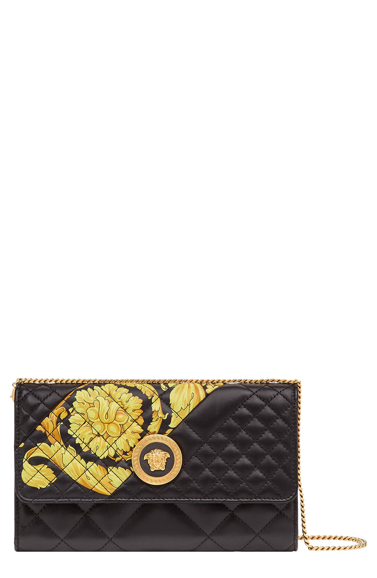 Baroque Icon Quilted Leather Crossbody Bag,                             Main thumbnail 1, color,                             BLACK MULTI/ TRIBUTE GOLD