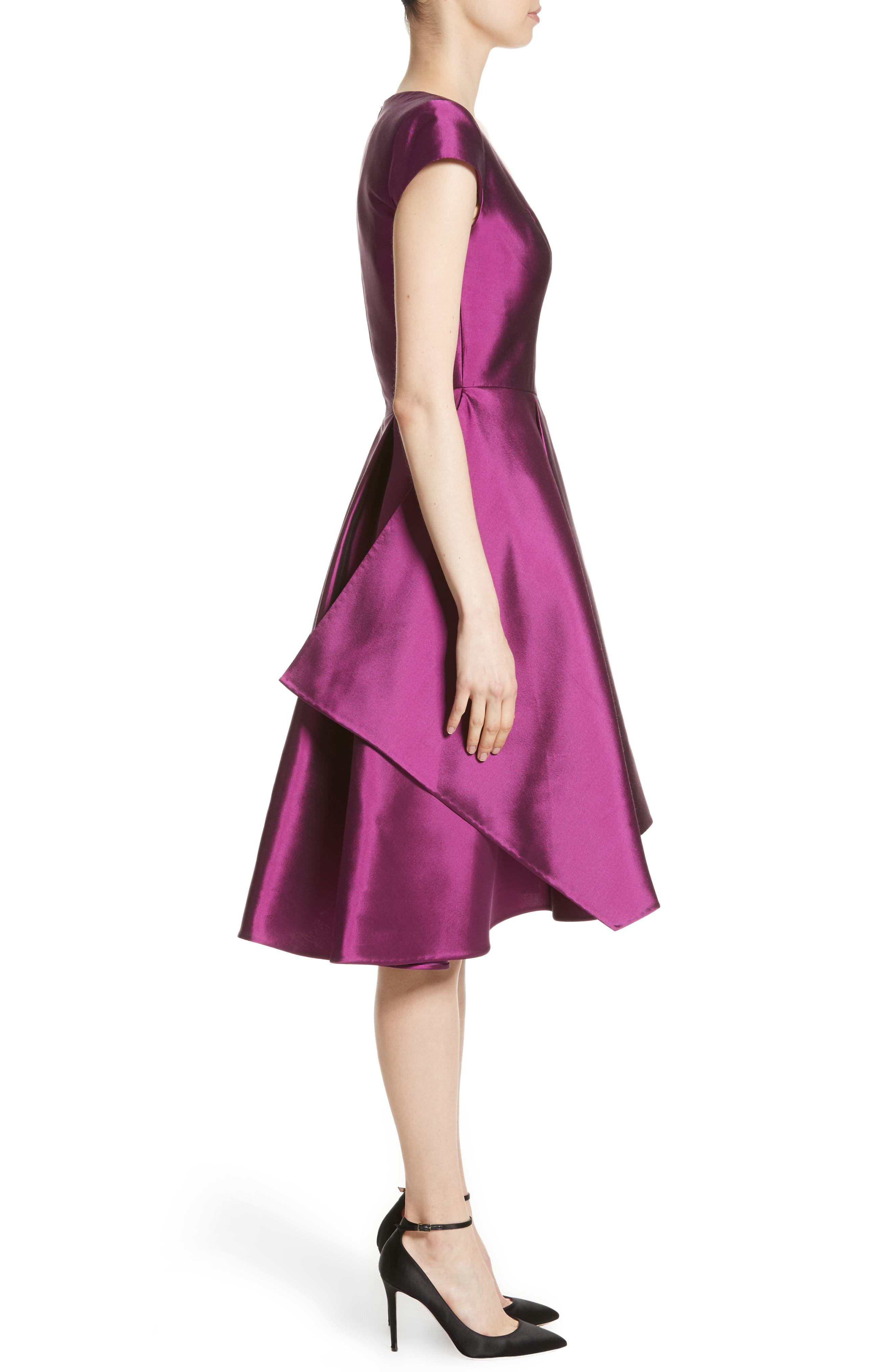 Fit & Flare Faille Dress,                             Alternate thumbnail 3, color,