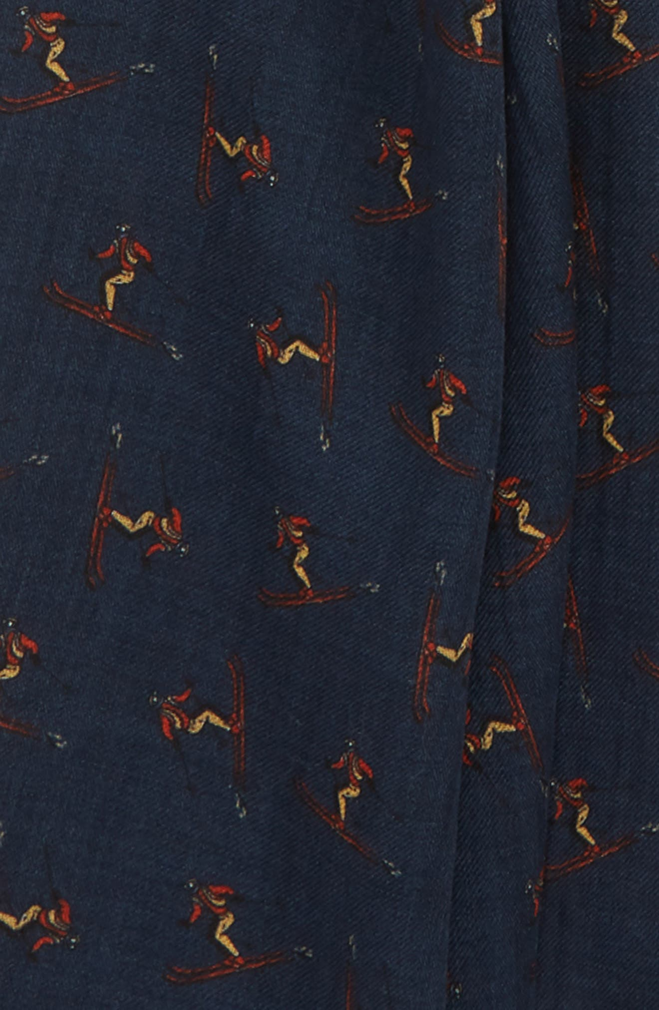 Drakes Skiers Print Wool Scarf,                             Alternate thumbnail 3, color,                             NAVY