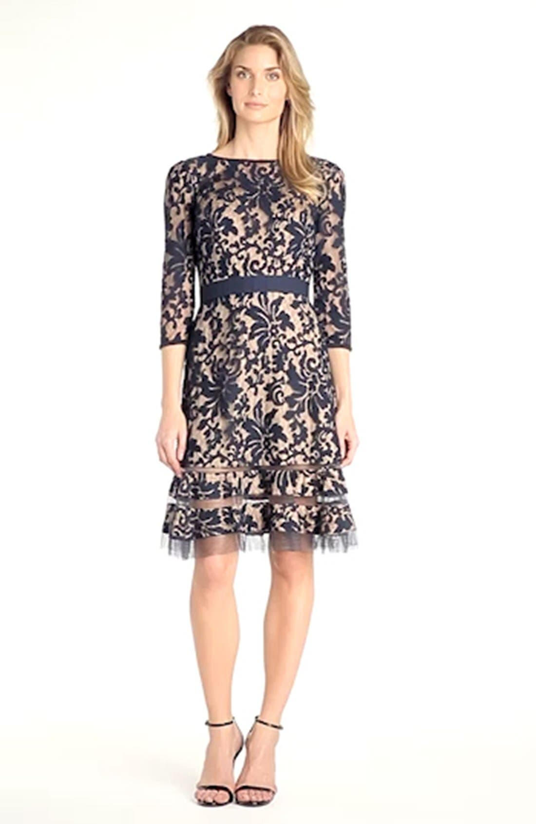 Lace Overlay Dress,                             Alternate thumbnail 3, color,                             408