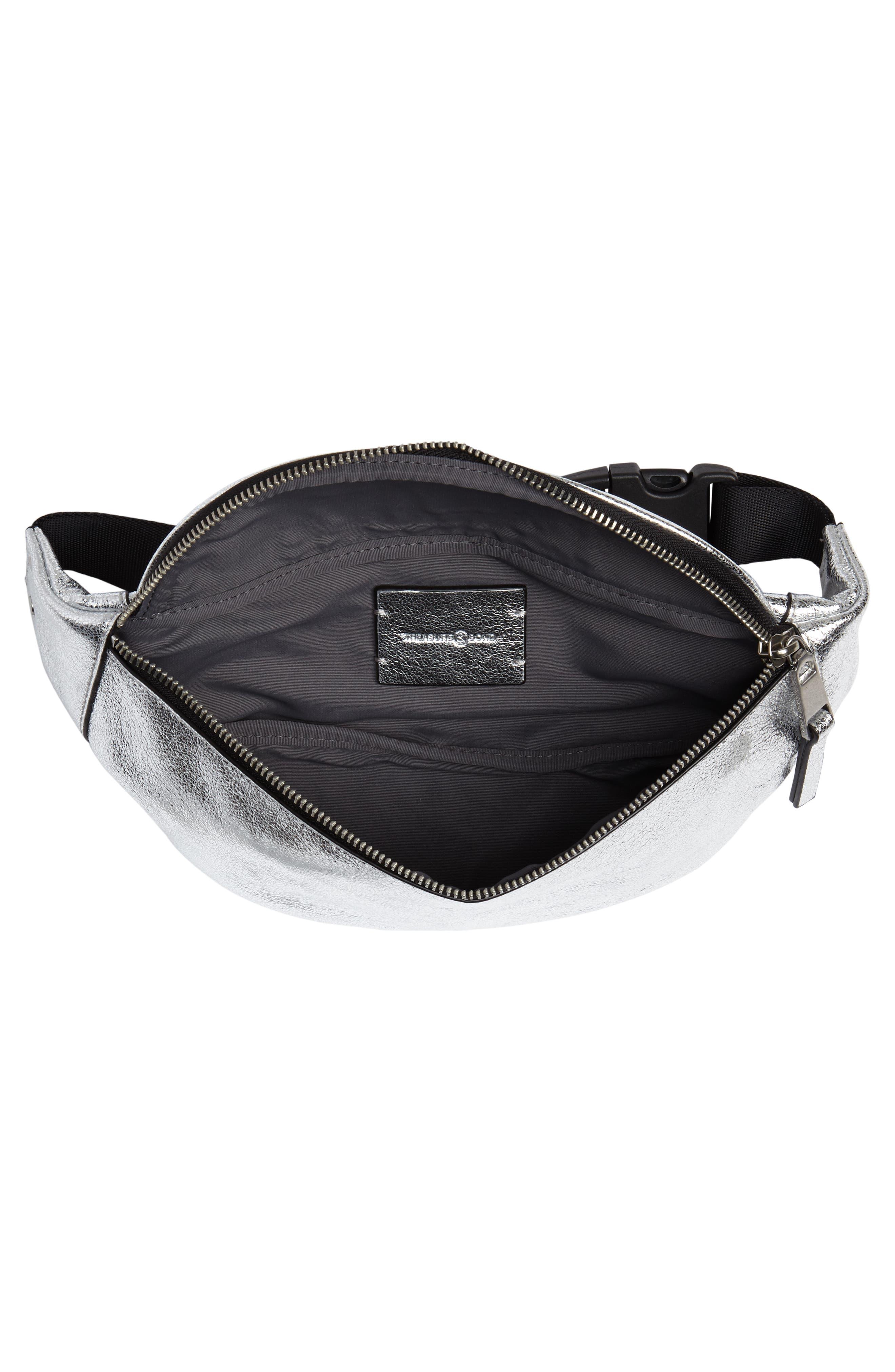 TREASURE & BOND,                             Mason Metallic Leather Belt Bag,                             Alternate thumbnail 5, color,                             SILVER