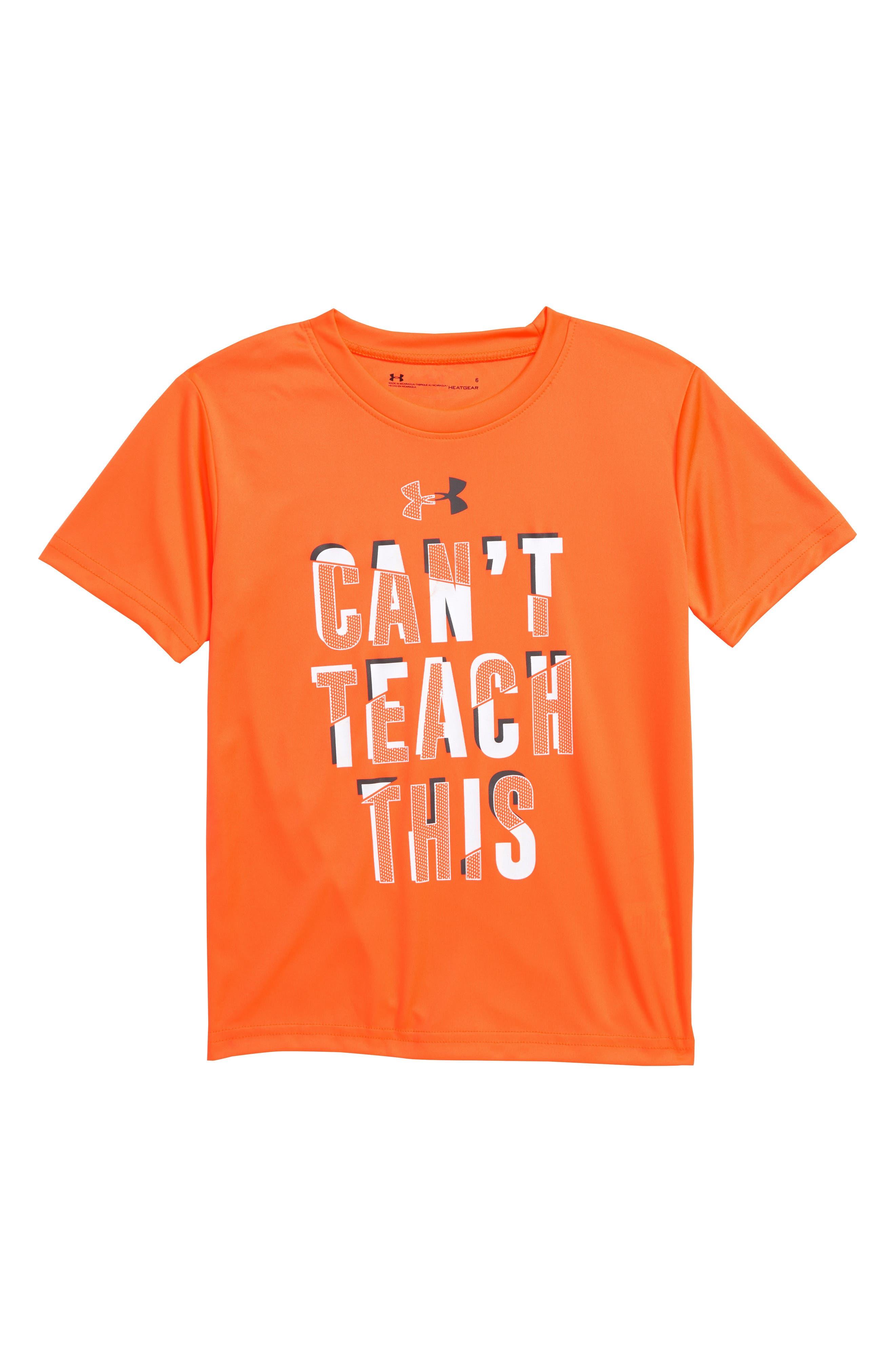 UNDER ARMOUR,                             Can't Teach This HeatGear<sup>®</sup> T-Shirt,                             Main thumbnail 1, color,                             ORANGE GLITCH