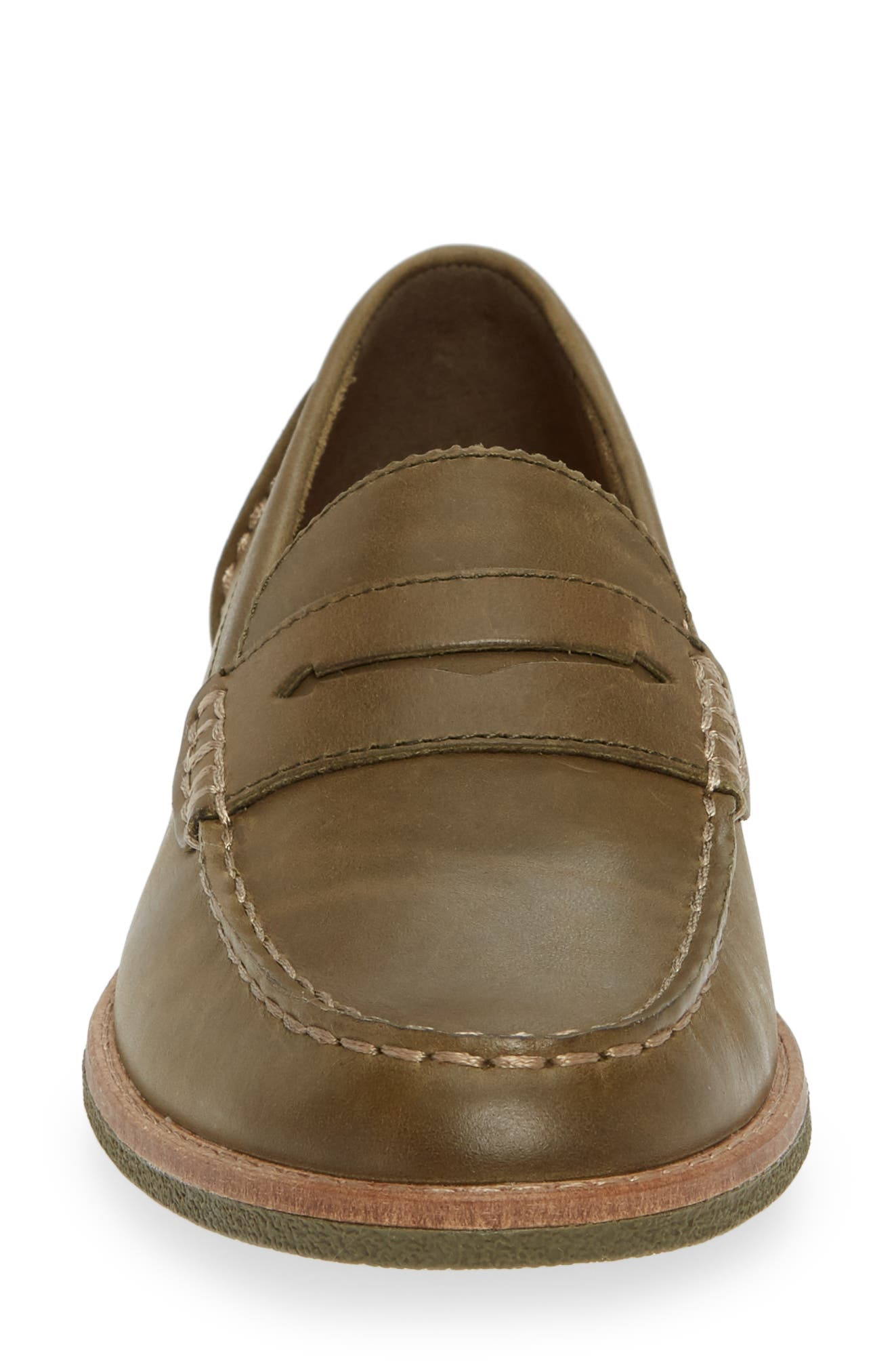Seaport Penny Loafer,                             Alternate thumbnail 4, color,                             OLIVE LEATHER