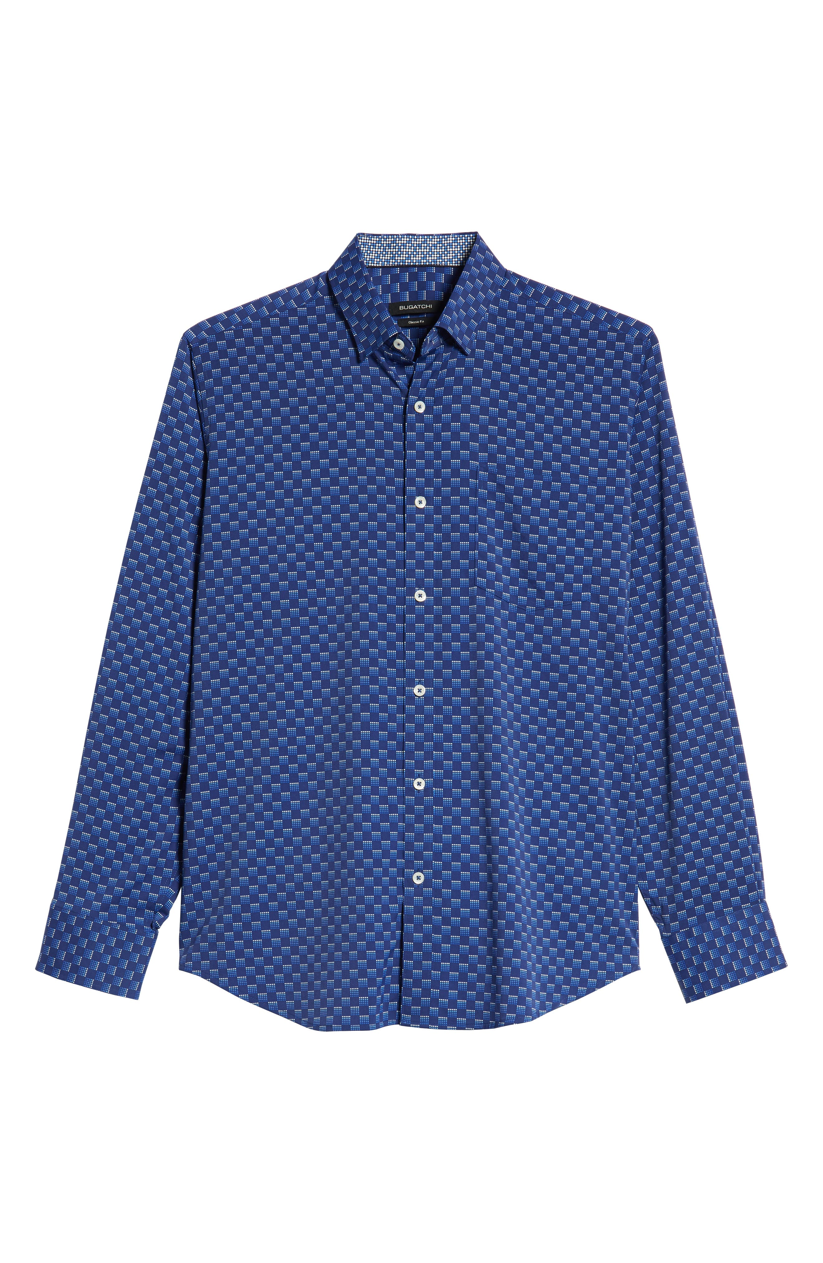 Classic Fit Print Performance Sport Shirt,                             Alternate thumbnail 5, color,                             NIGHT BLUE