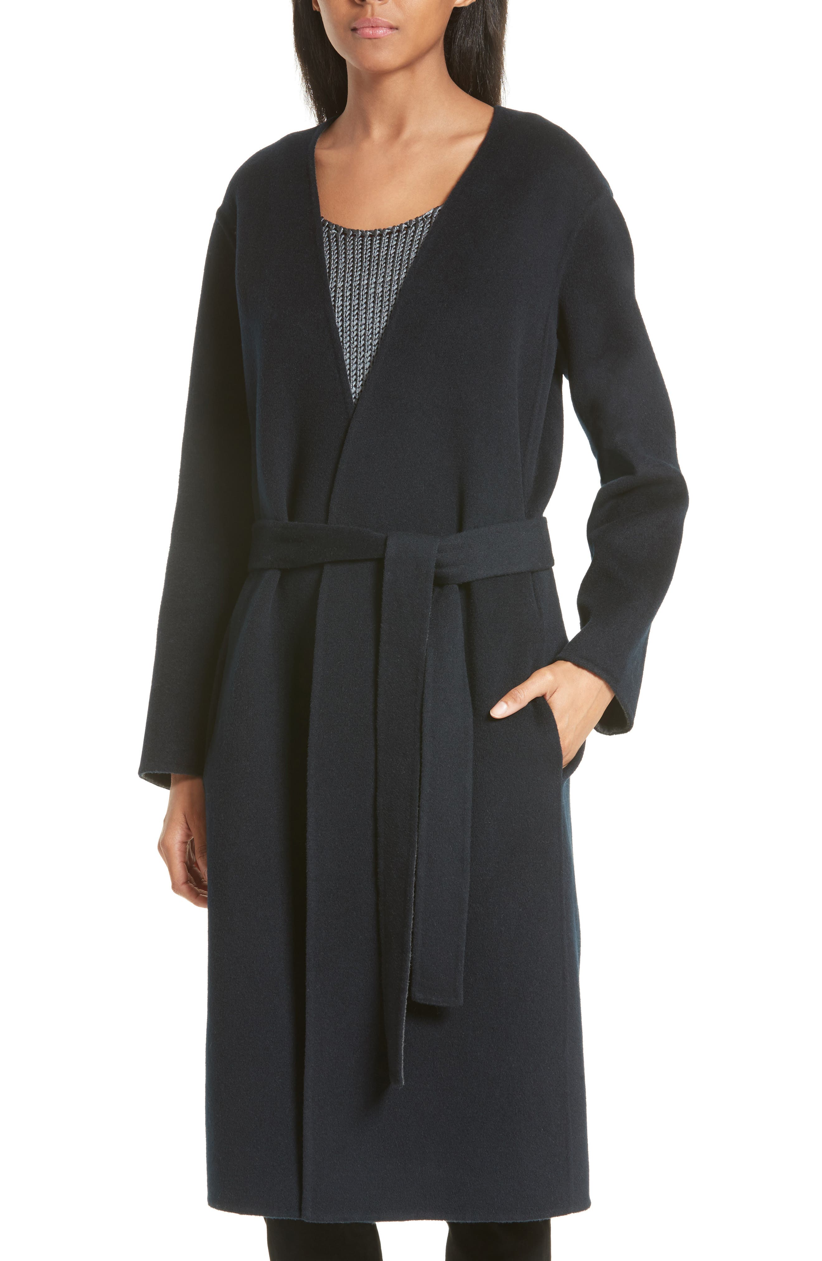 Reversible Wool & Cashmere Belted Coat,                             Alternate thumbnail 5, color,                             464
