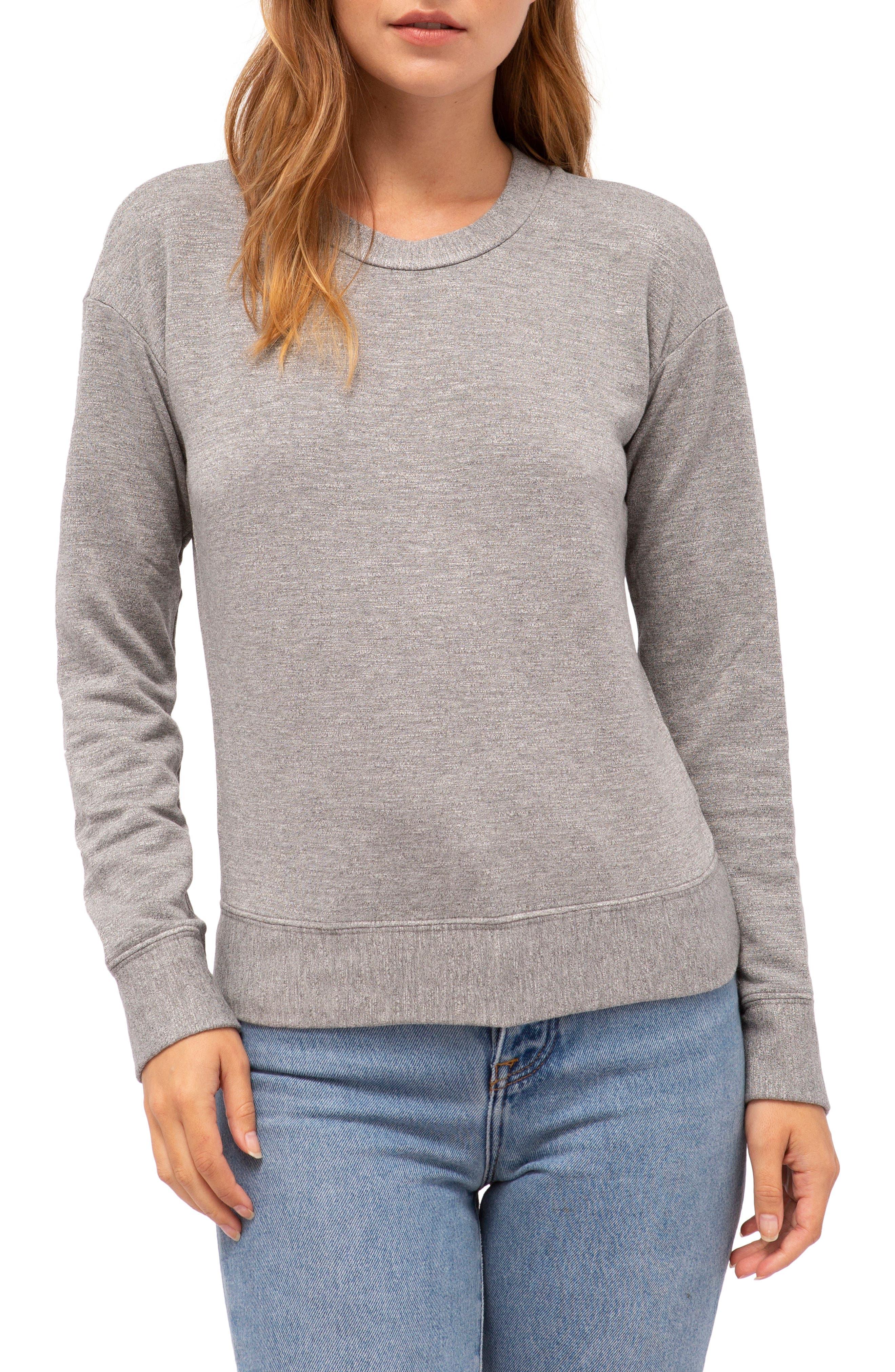 Fleece Pullover,                         Main,                         color, HEATHER GREY
