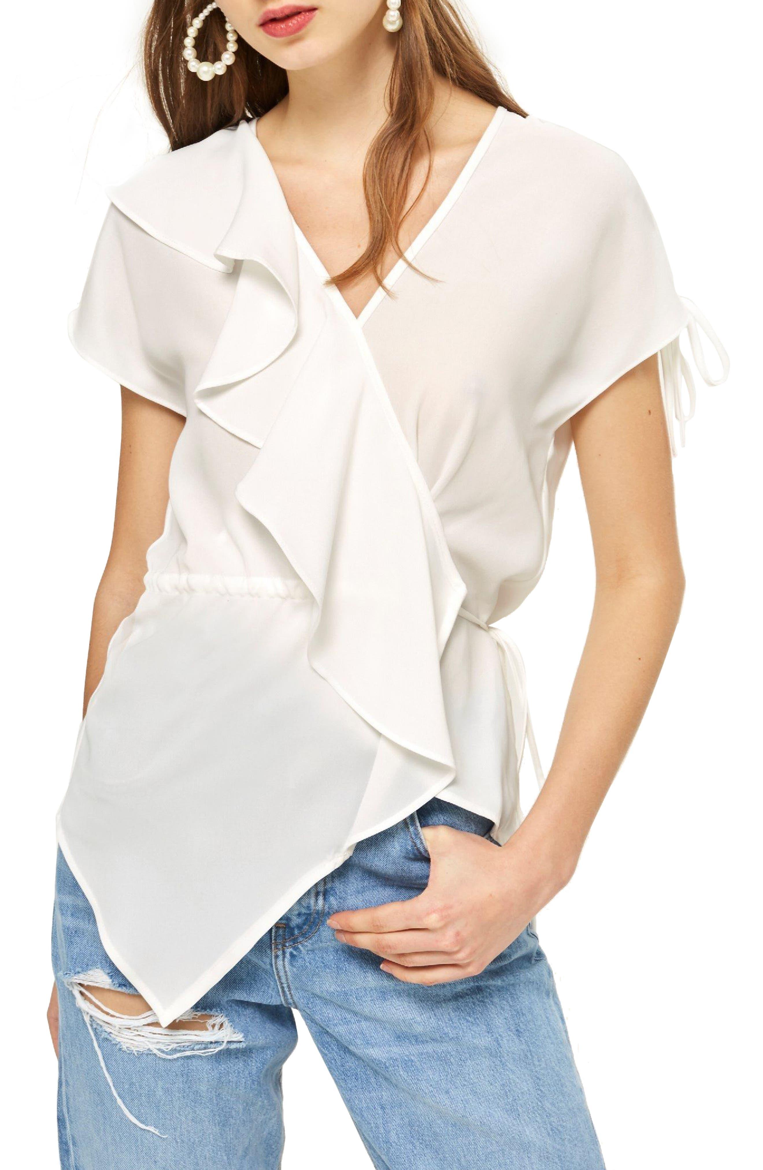 Ruffle Asymmetrical Drawstring Blouse,                         Main,                         color, 900
