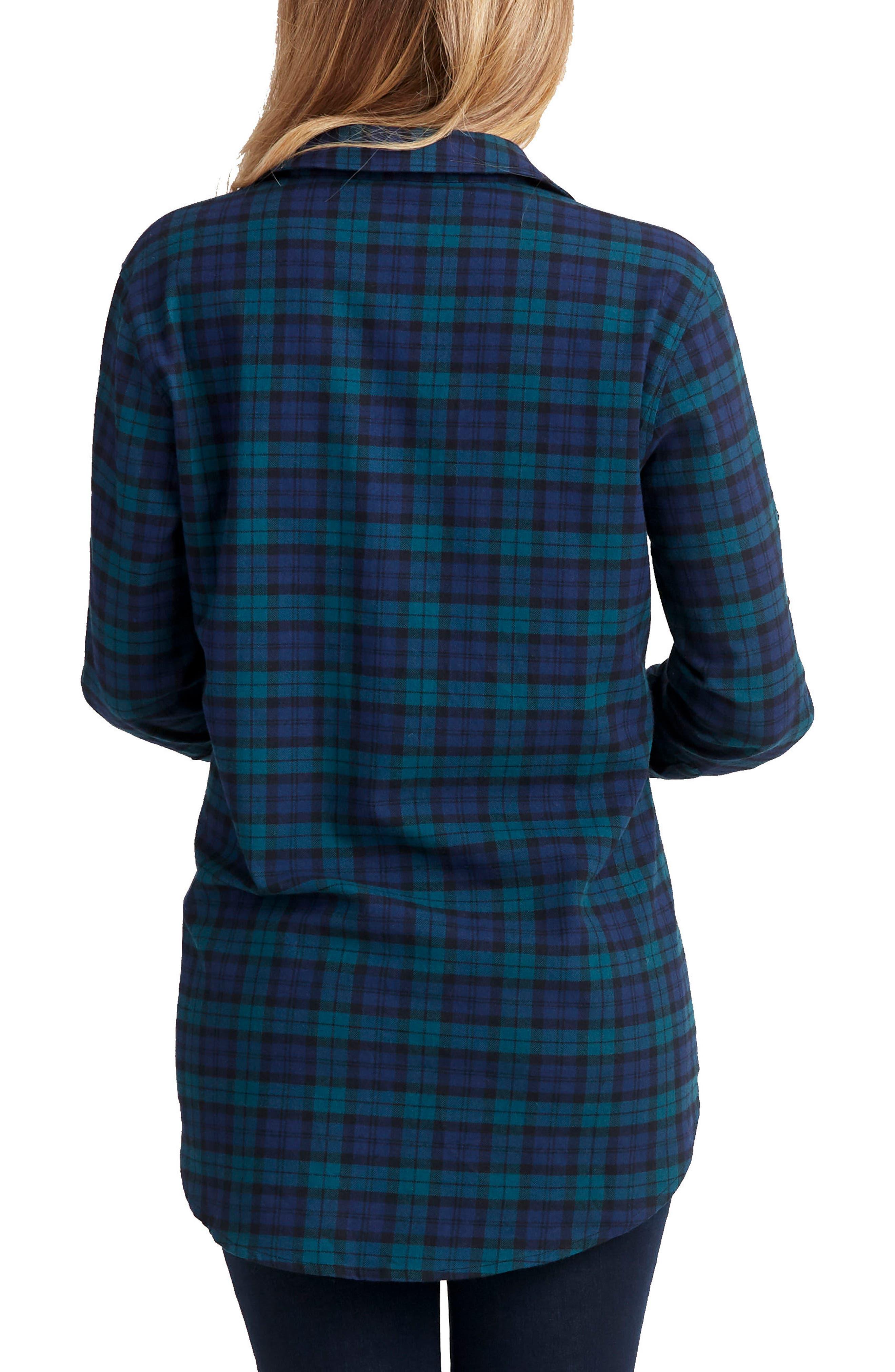 Sadie Maternity/Nursing Shirt,                             Alternate thumbnail 2, color,                             BLUE GREEN PLAID