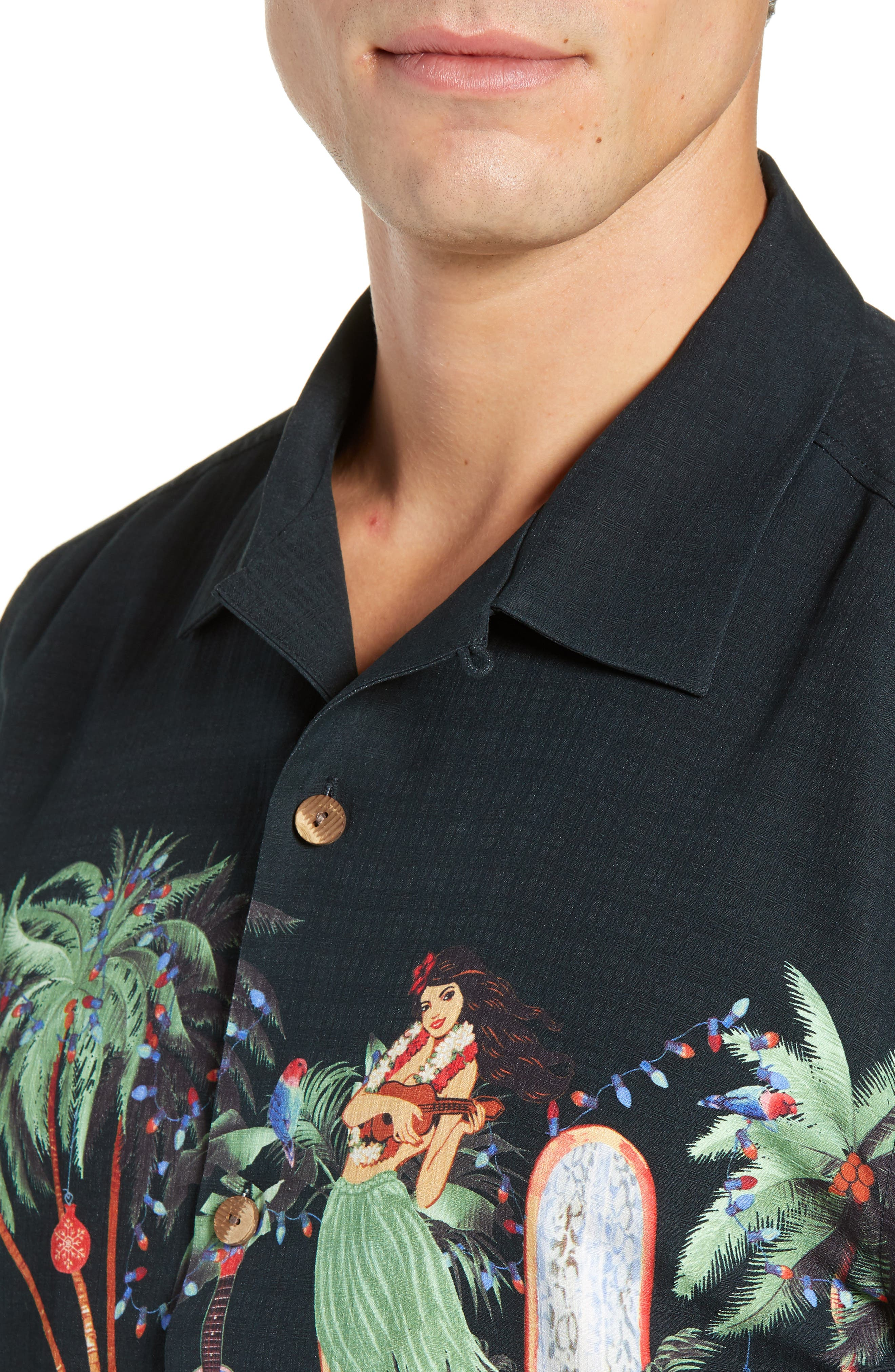 Mele Kalikimaka Silk Camp Shirt,                             Alternate thumbnail 2, color,                             BLACK