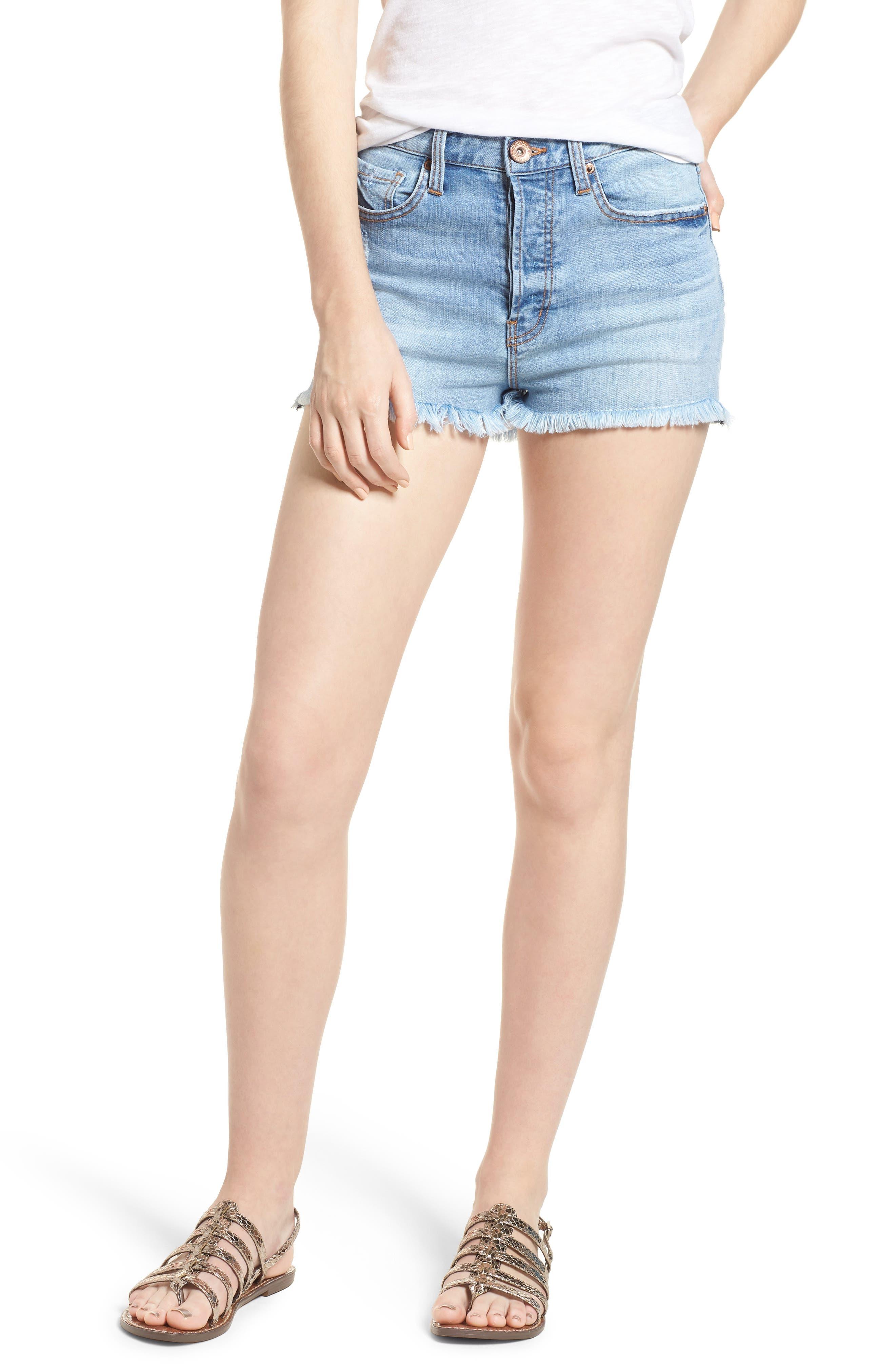 Zoey Denim Shorts,                         Main,                         color, 402