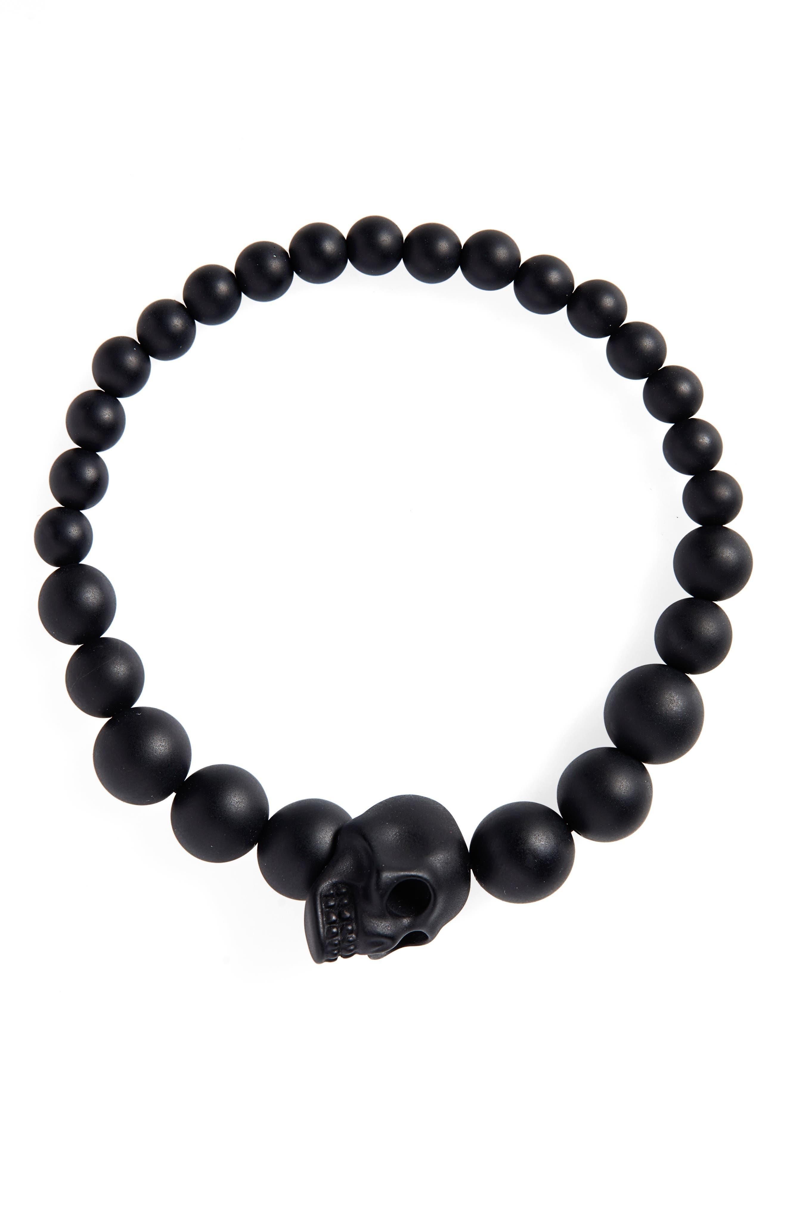 Alexandar McQueen Skull Ball Bracelet, Main, color, BLACK