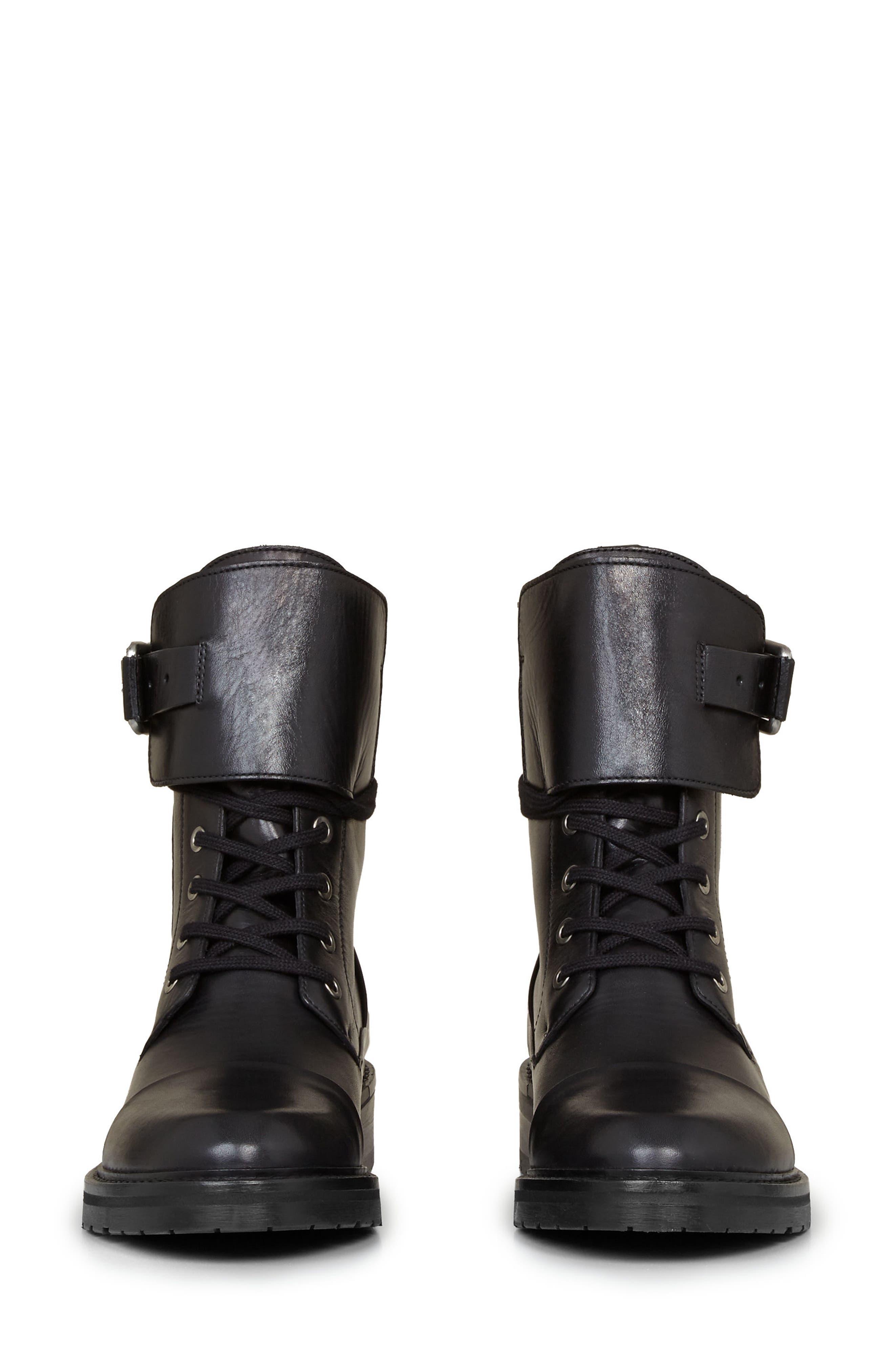 Daria Cuffed Combat Boot,                             Alternate thumbnail 4, color,                             001