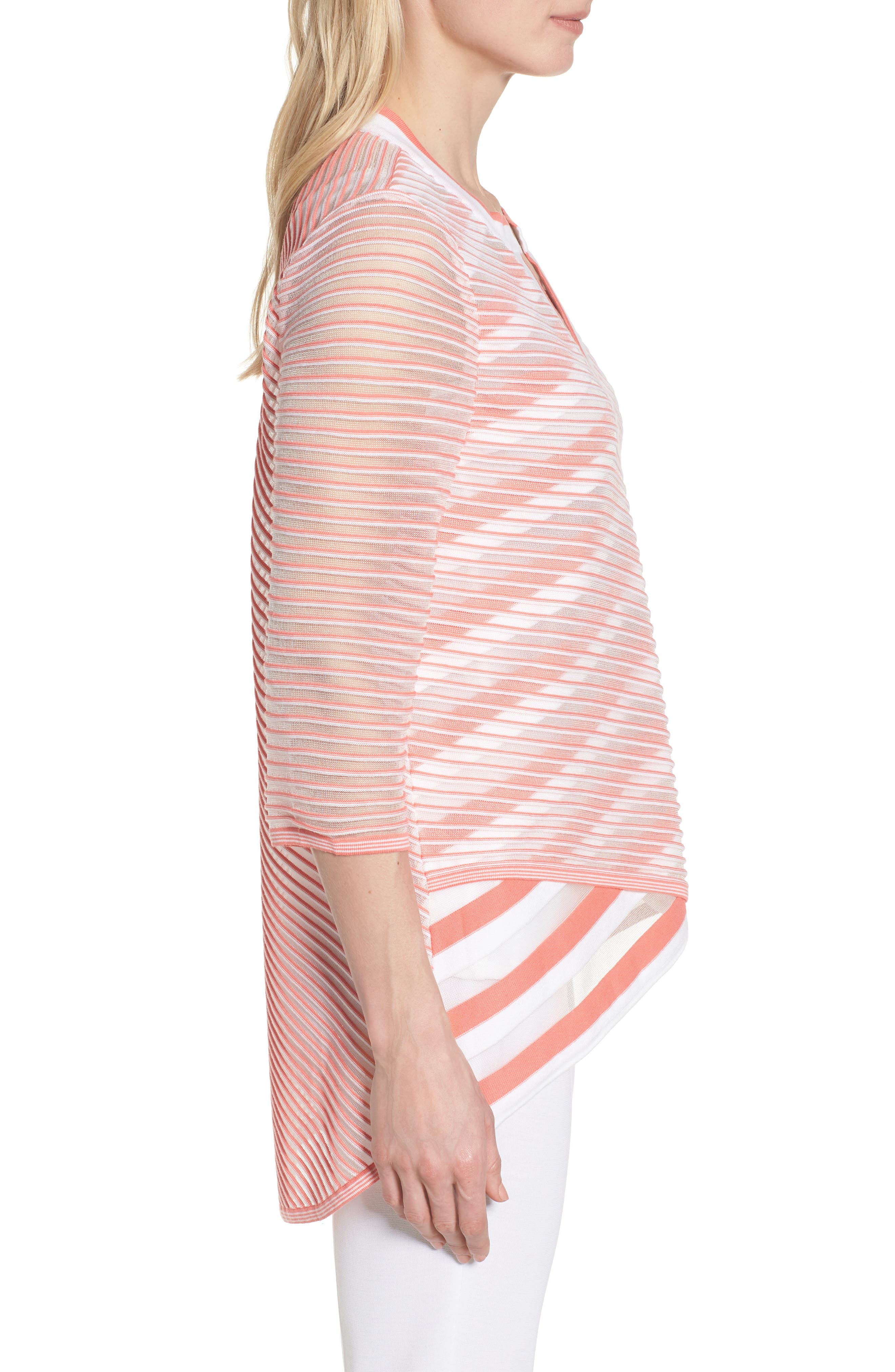 Sheer Stripe Knit Tunic,                             Alternate thumbnail 3, color,                             DAYLILY/ WHITE