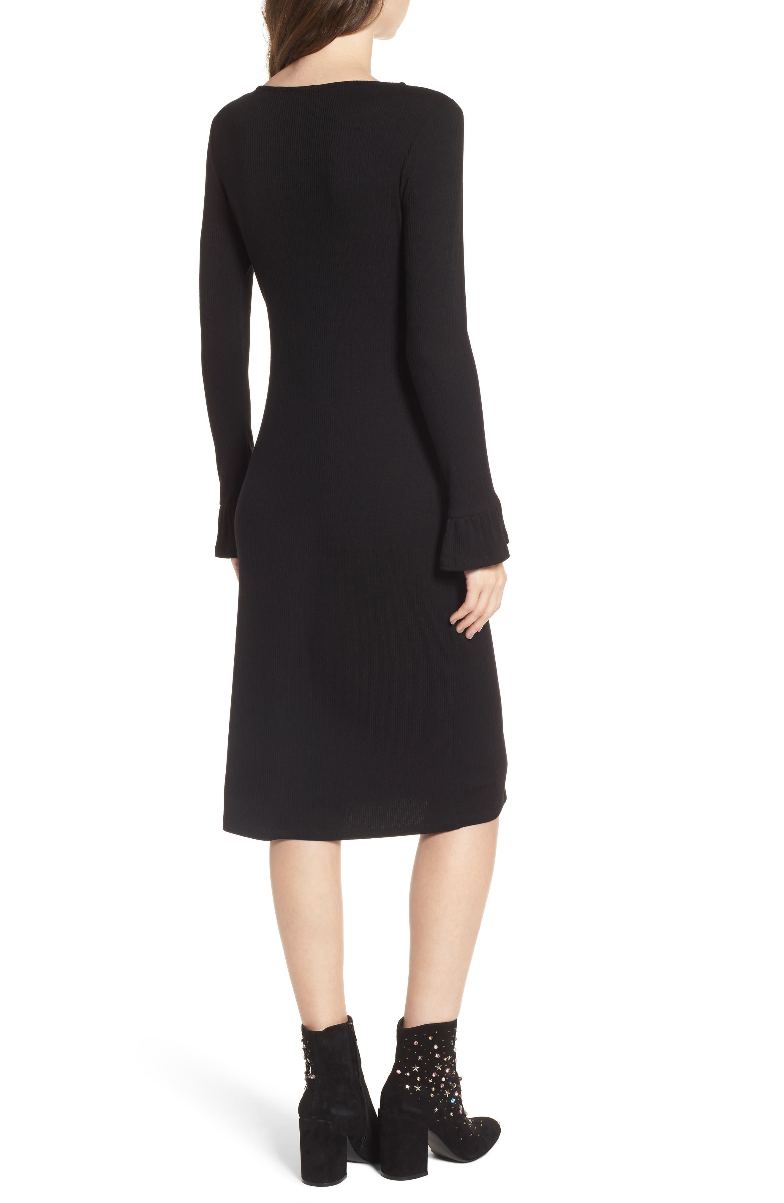 Ruffle Sleeve Ribbed Midi Dress,                             Alternate thumbnail 3, color,