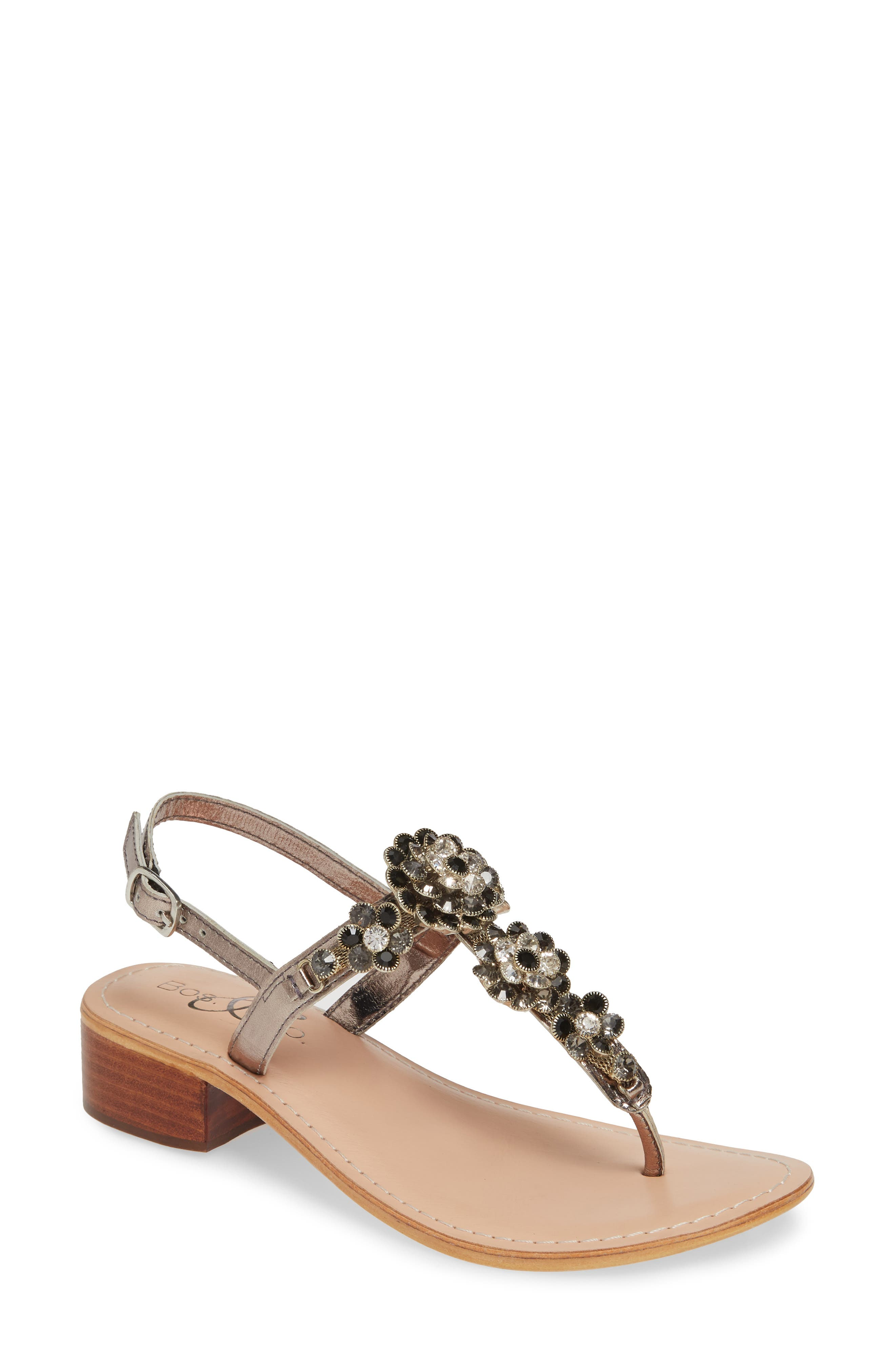 BOS. & CO.,                             Wyn Embellished Sandal,                             Main thumbnail 1, color,                             ANTHRACITE/ PEWTER LEATHER