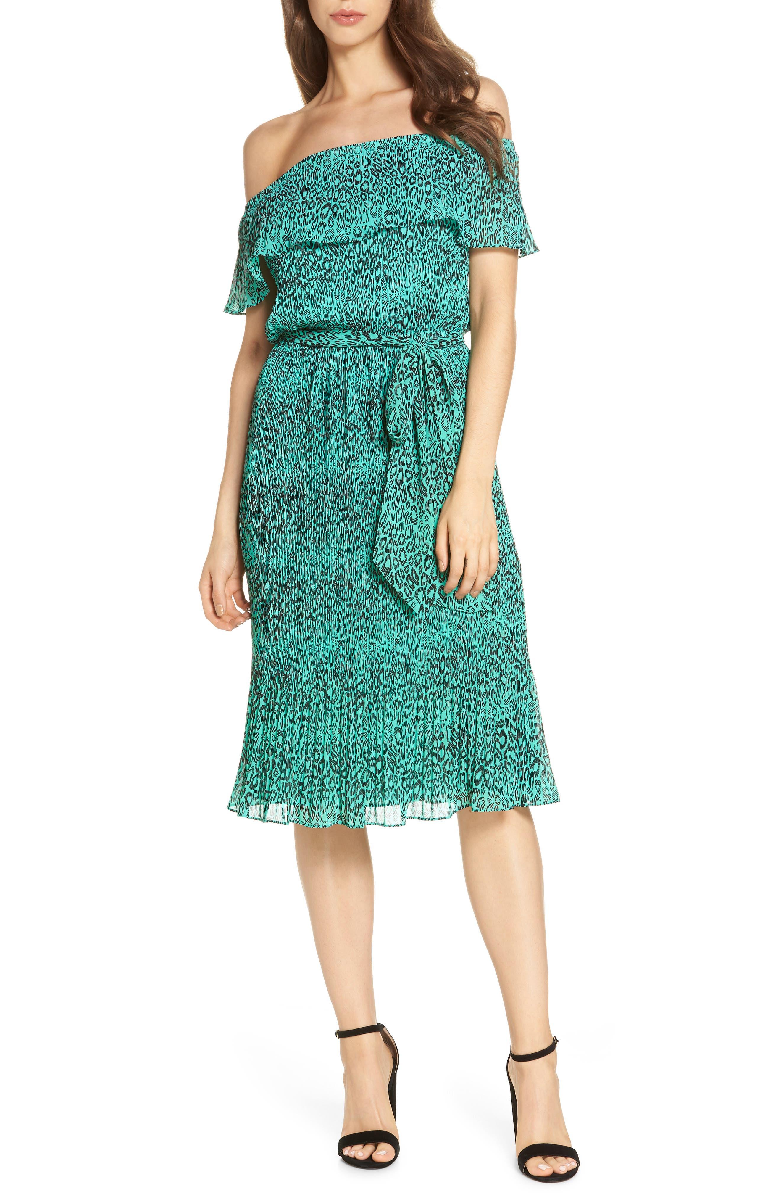 Off the Shoulder Chiffon Midi Dress,                         Main,                         color, 300