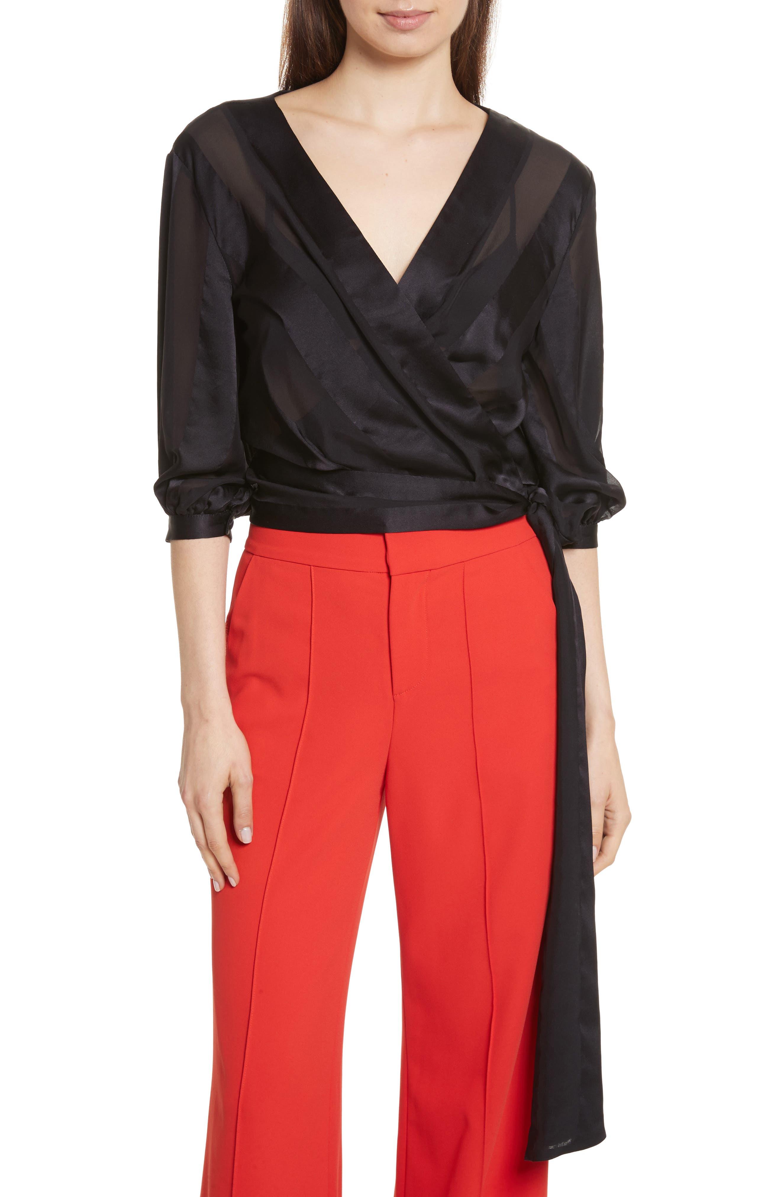 Dyanna Wrap Front Blouson Silk Top,                             Main thumbnail 1, color,                             001