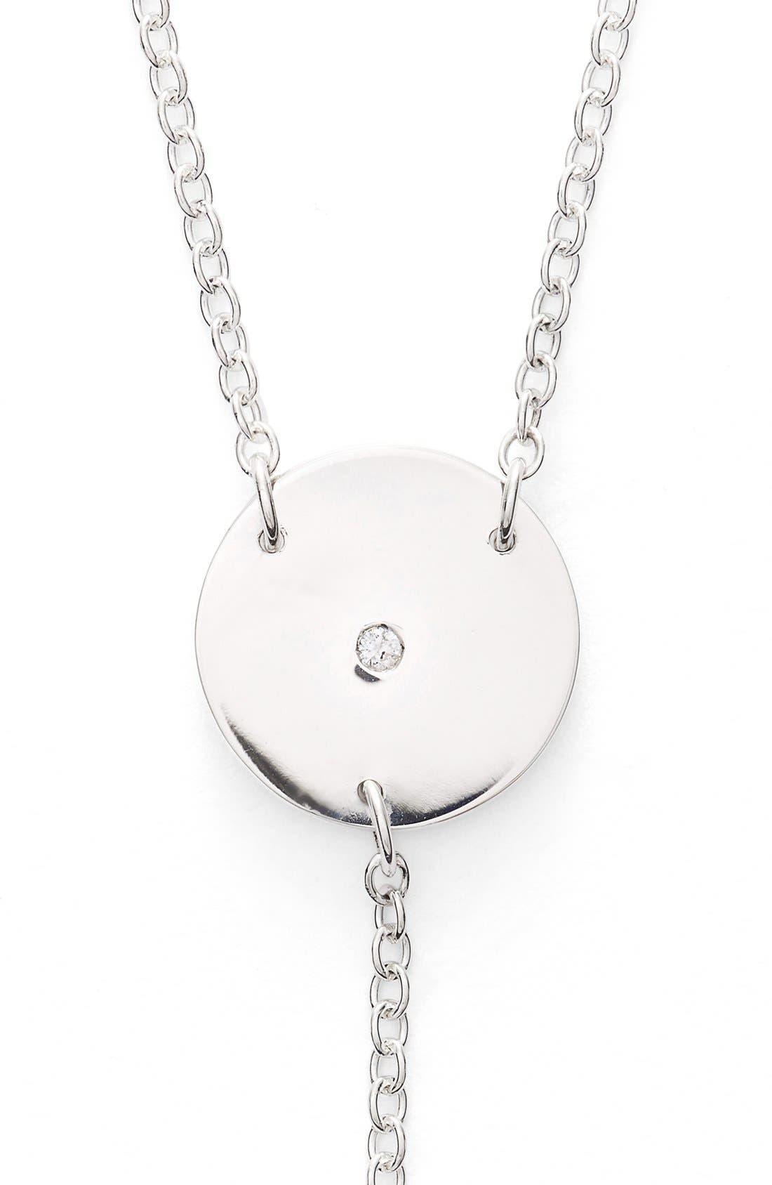 Diamond & Personalized Monogram Y-Necklace,                             Alternate thumbnail 4, color,