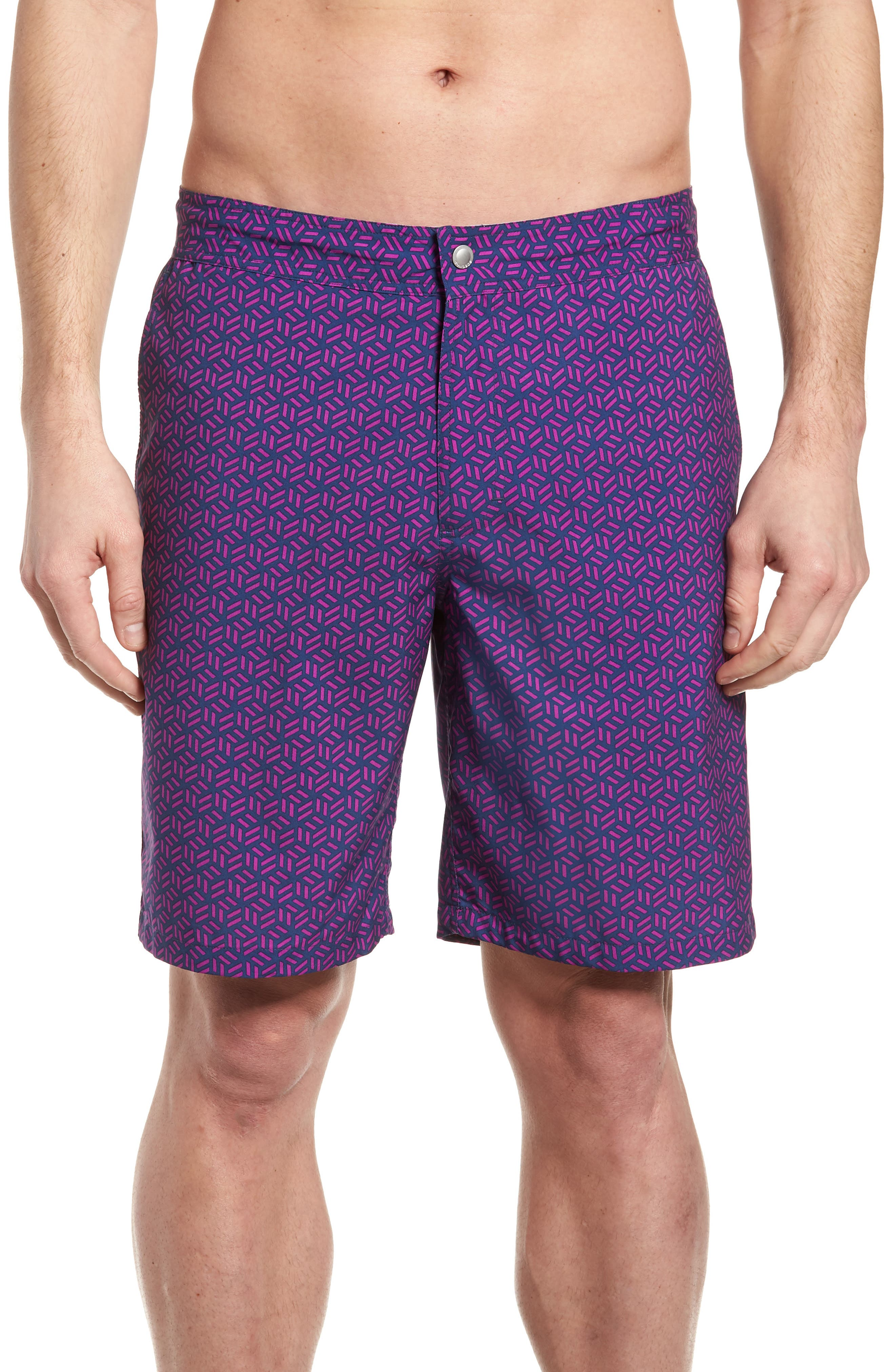 Geo Print 9-Inch Swim Trunks,                             Main thumbnail 1, color,                             400