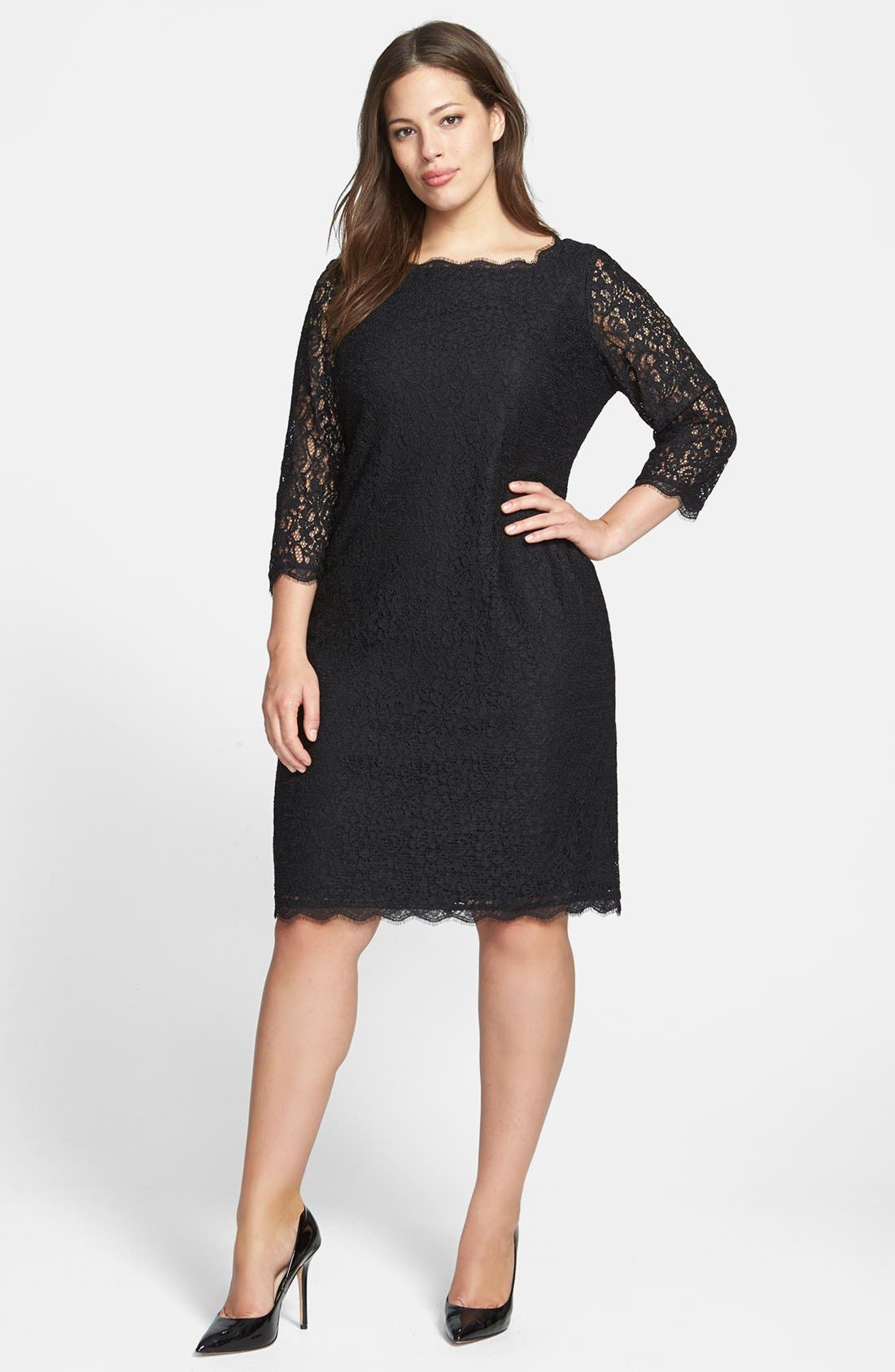 Lace Overlay Sheath Dress,                             Alternate thumbnail 9, color,                             001