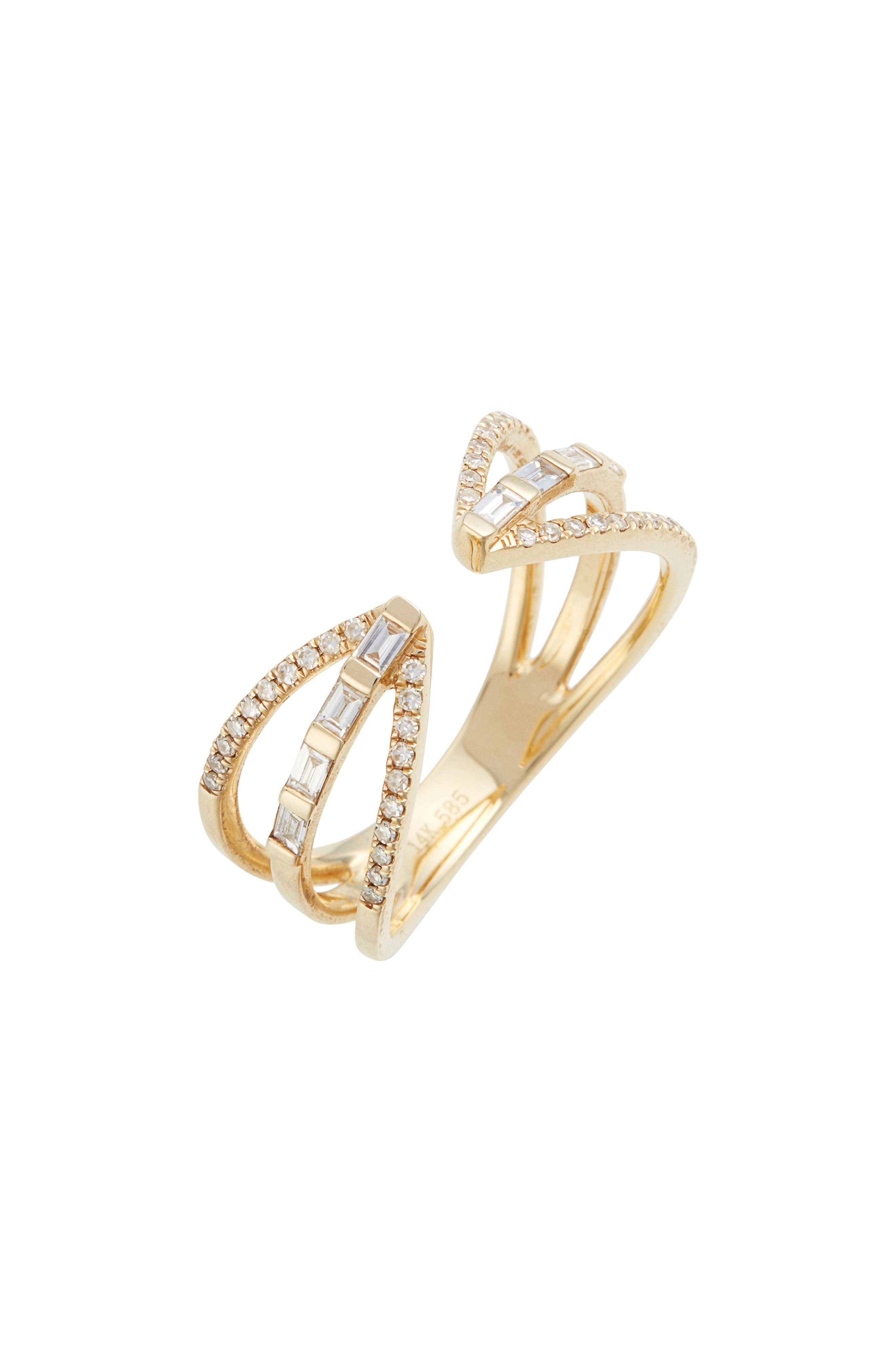 Open Baguette Queen Diamond Ring,                         Main,                         color, YELLOW GOLD