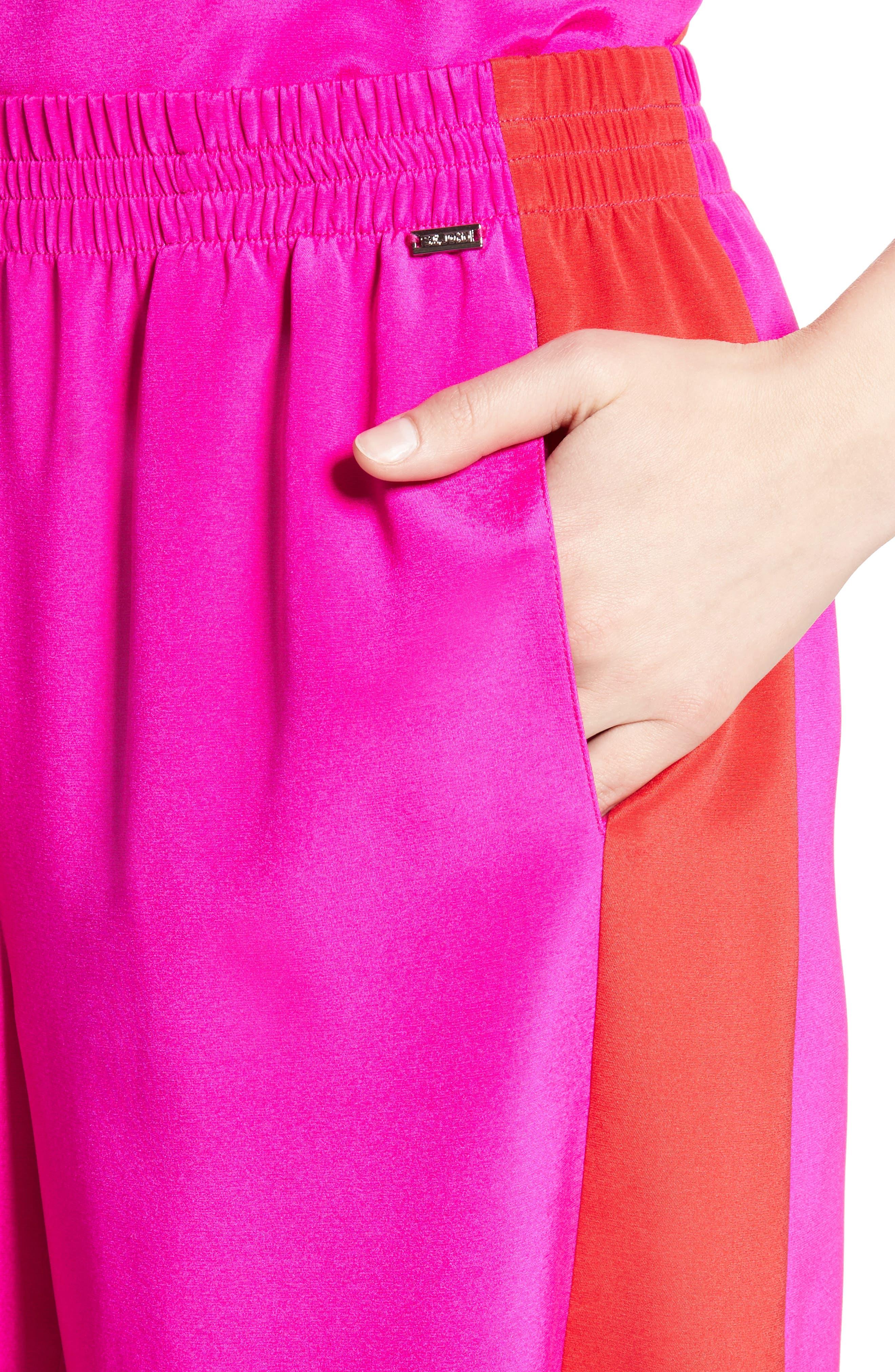 Silk Crêpe de Chine Contrast Side Shorts,                             Alternate thumbnail 4, color,                             670