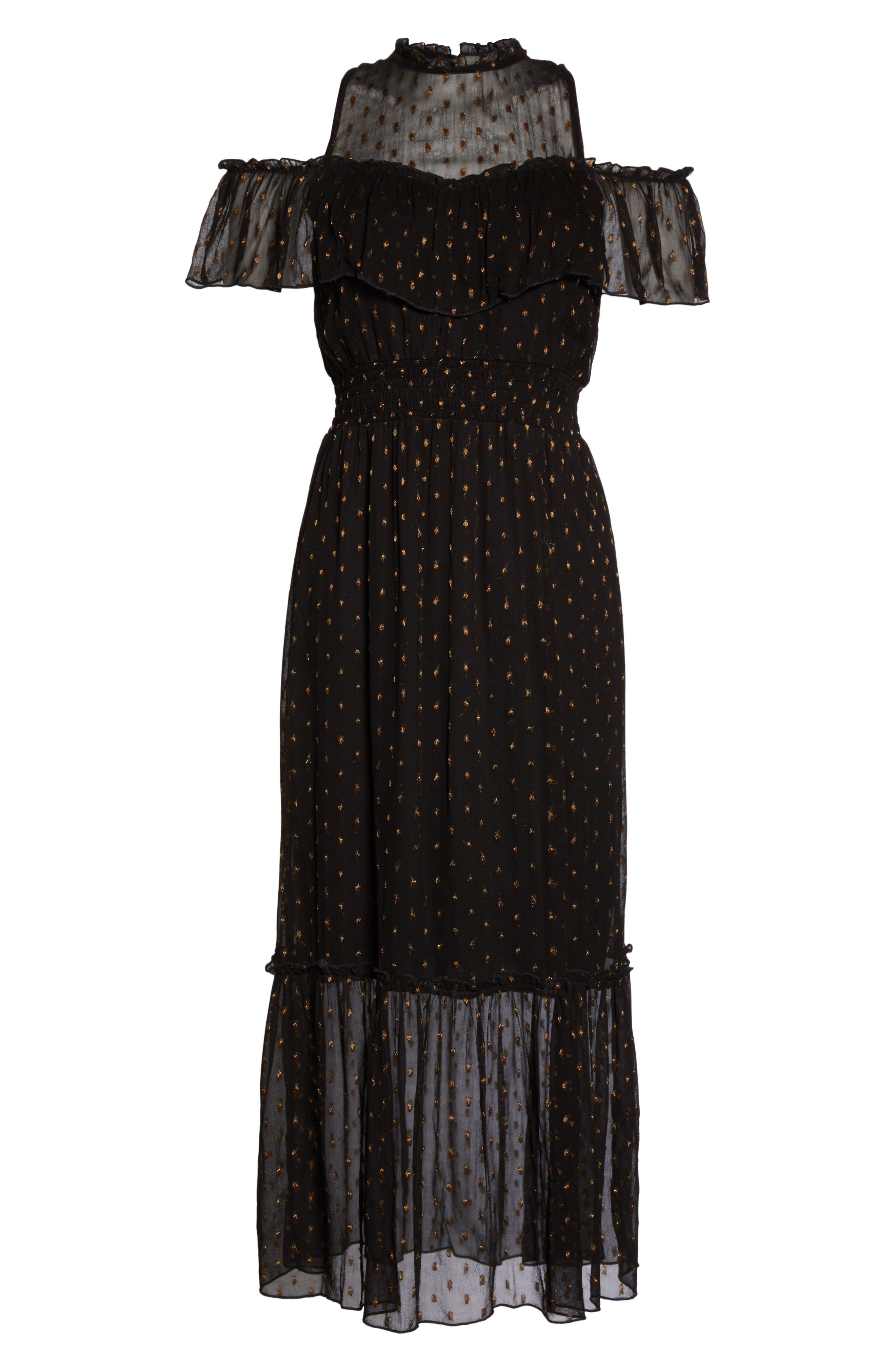 NSR,                             Lace Cold Shoulder Midi Dress,                             Alternate thumbnail 6, color,                             001