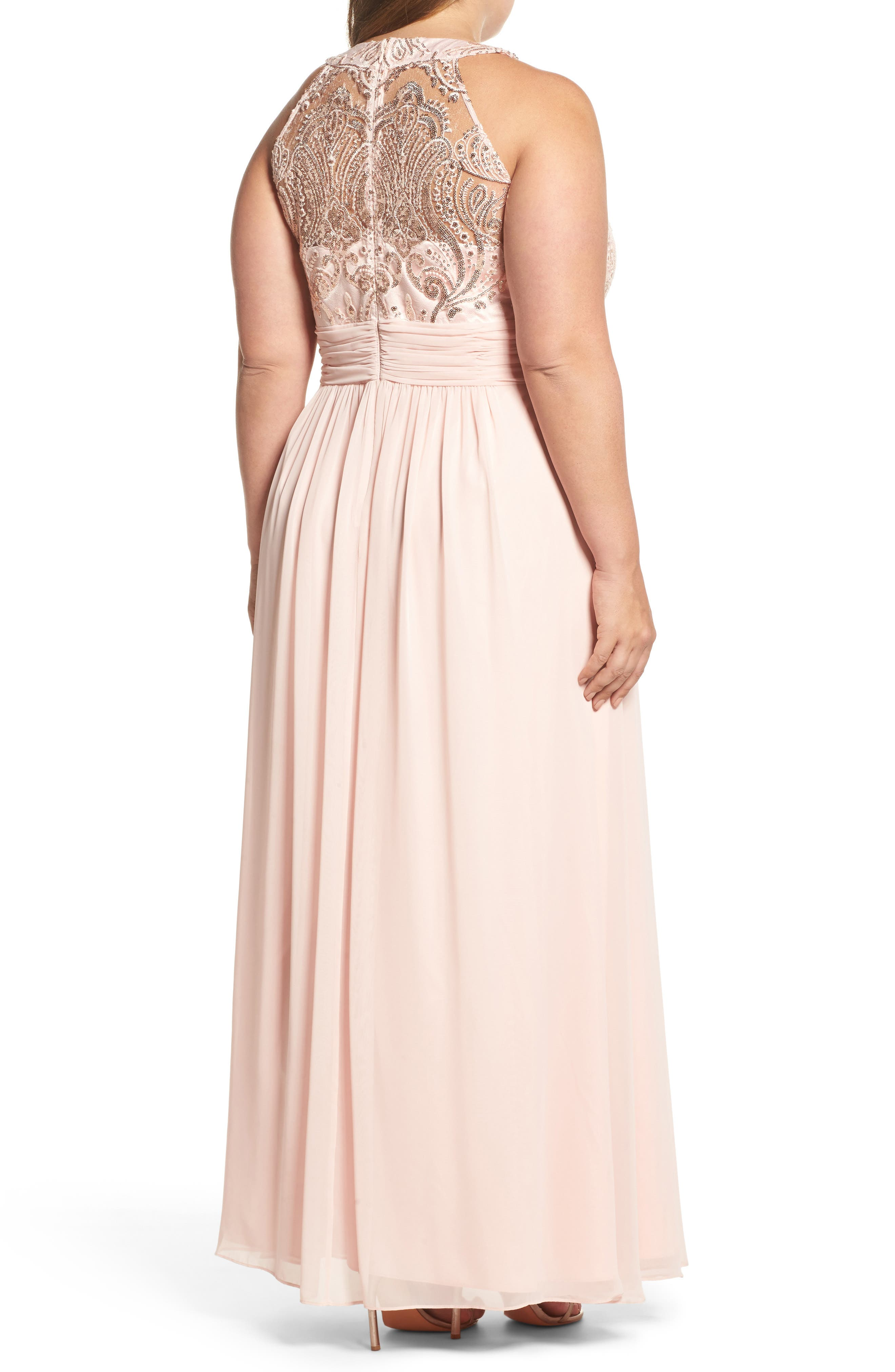 Sequin & Lace Bodice Chiffon Gown,                             Alternate thumbnail 2, color,                             684