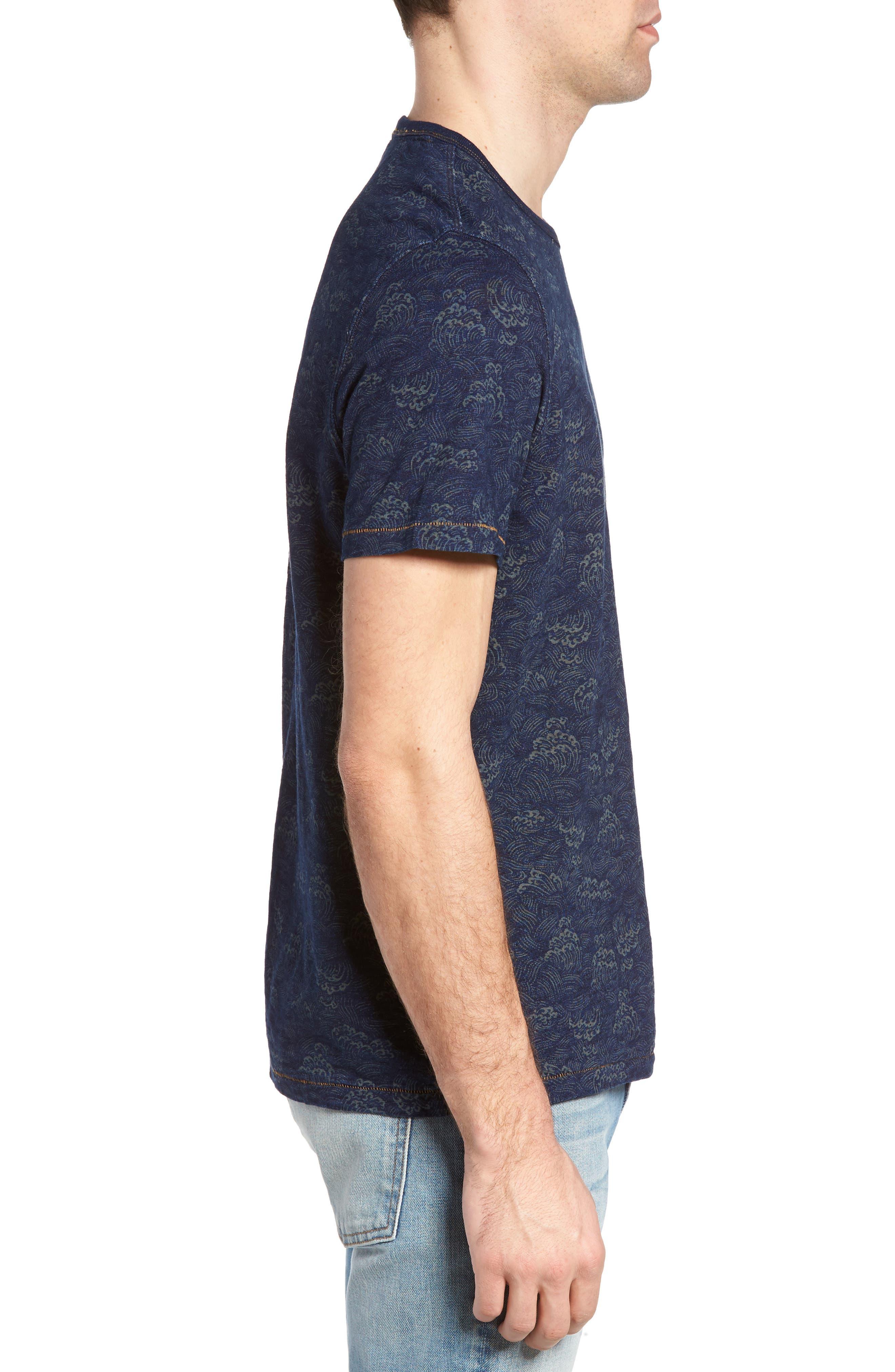 Swell Print Indigo Slub Jersey T-Shirt,                             Alternate thumbnail 3, color,
