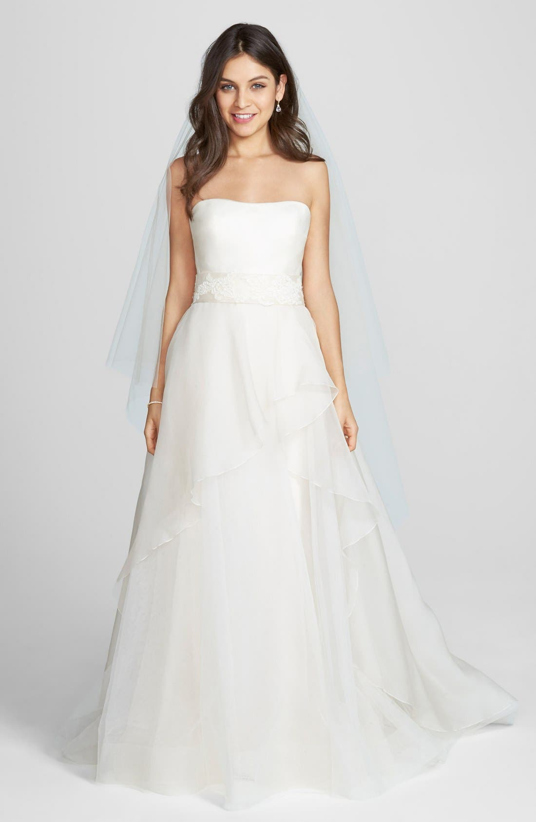 'Hailee' Silk Organza Strapless Flared Gown,                             Main thumbnail 1, color,                             650