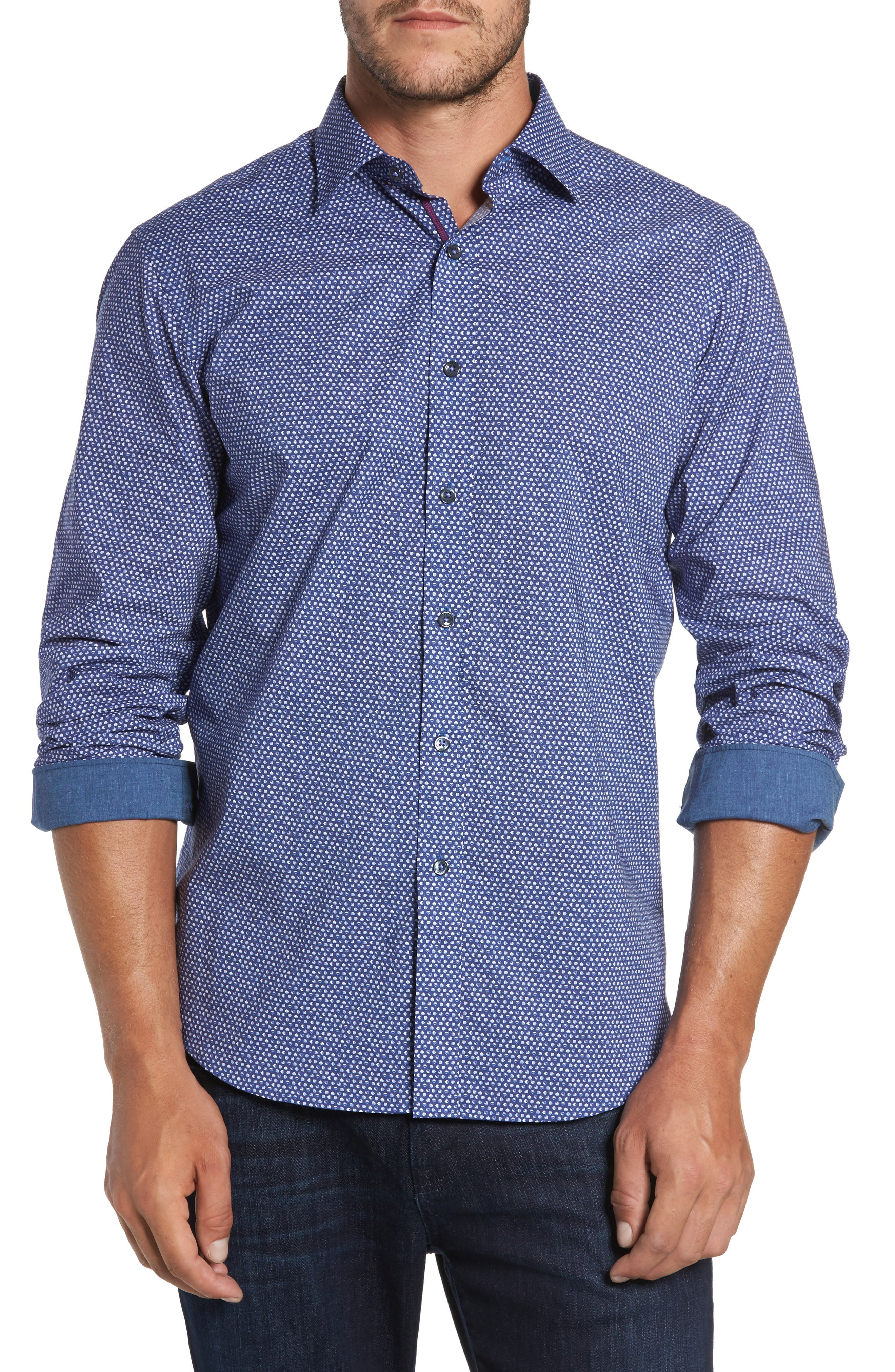 Classic Fit Raindrop Print Sport Shirt,                             Main thumbnail 1, color,                             513