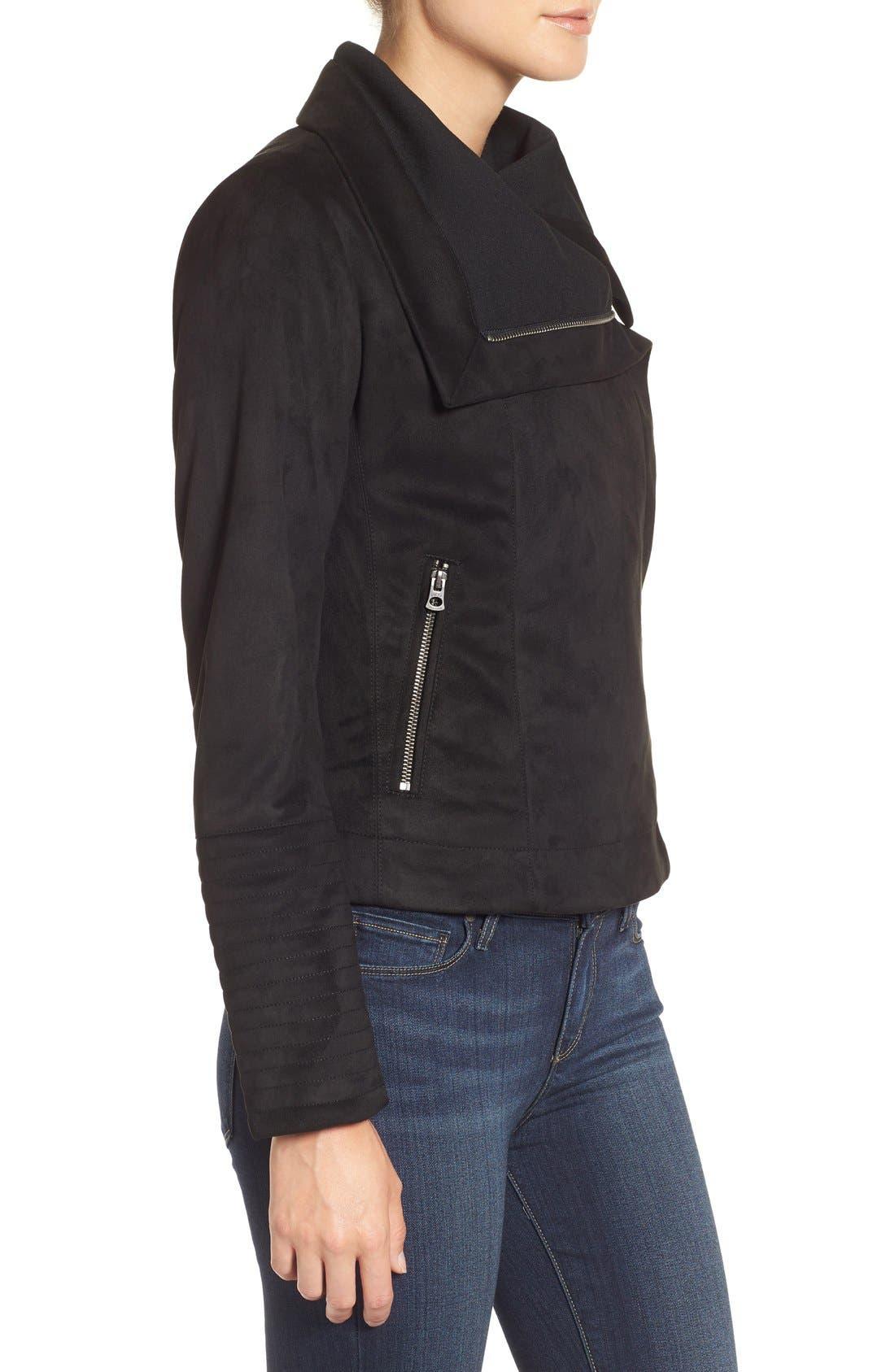 Faux Suede Moto Jacket,                             Alternate thumbnail 3, color,                             001