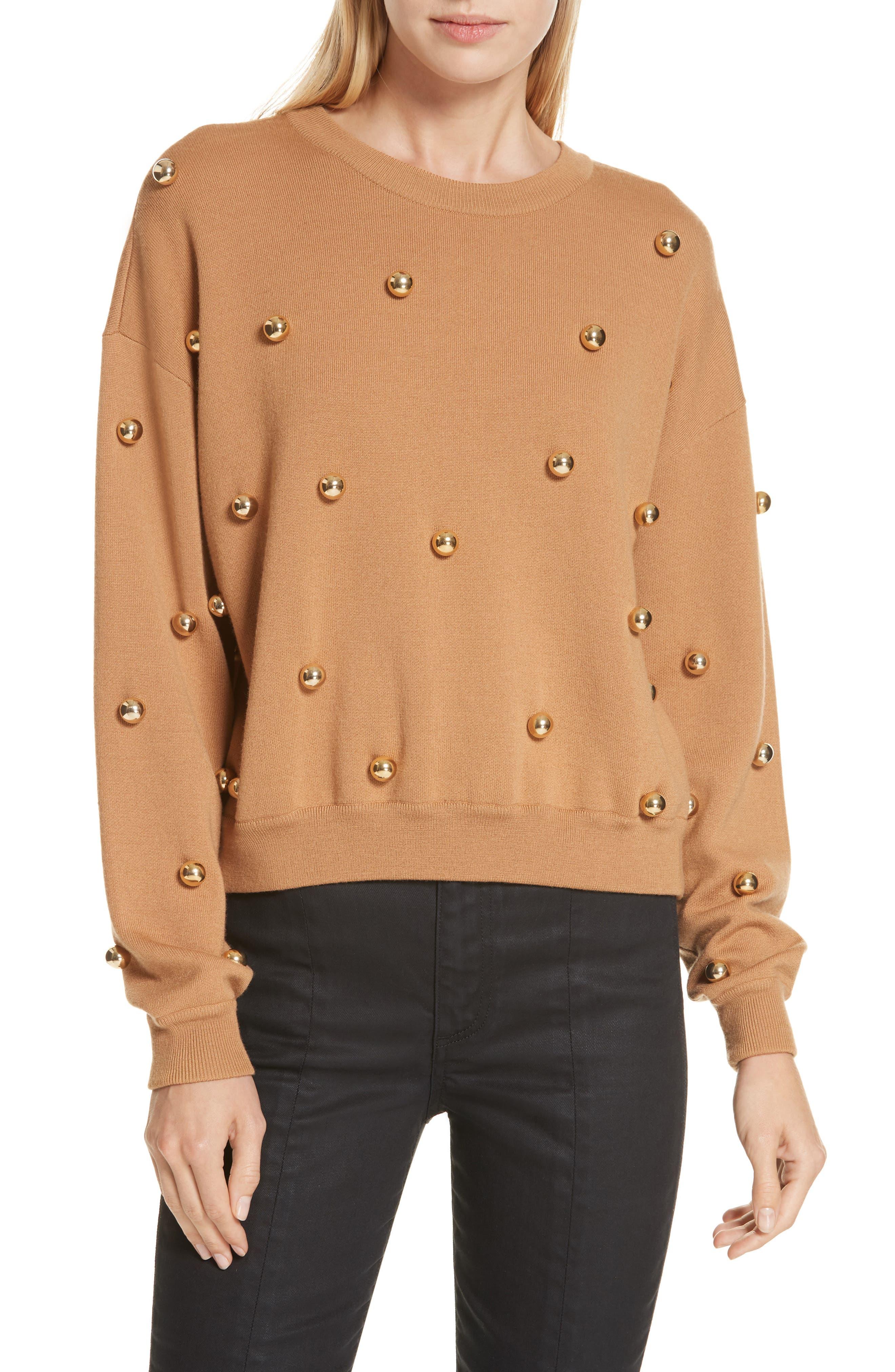 Alice + Olivia Gleeson Metal Ball Detail Wool Blend Sweater, Brown