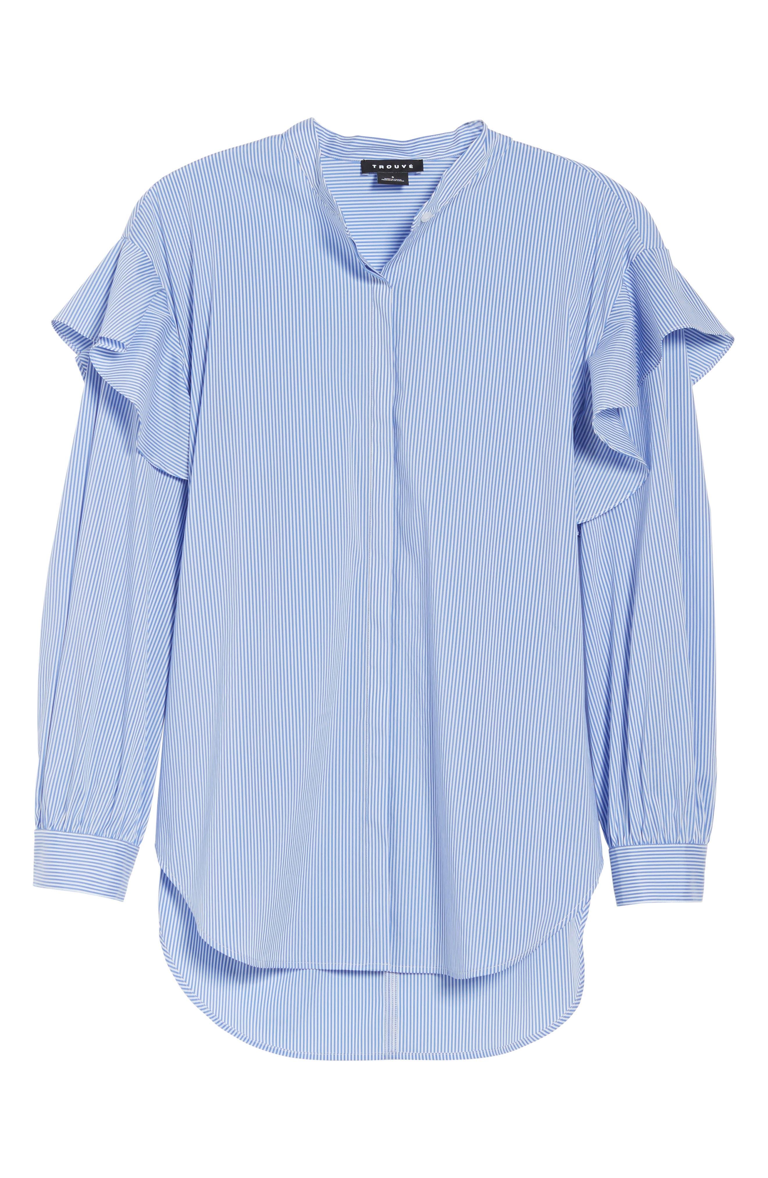 Ruffle Shoulder Blouse,                             Alternate thumbnail 6, color,                             420